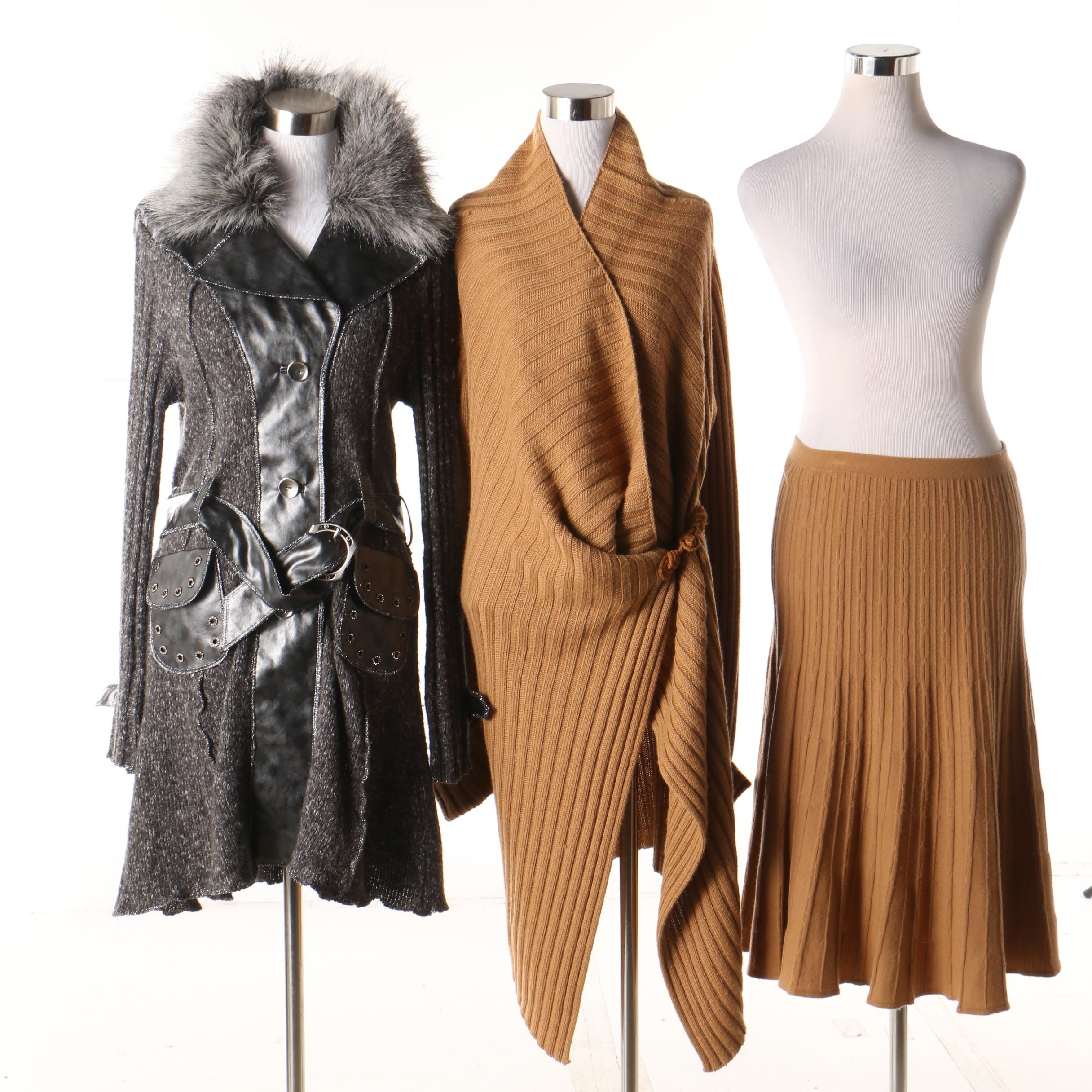 Women's Rodier Brown Sweater Skirt Set and La Seine Grey Belted Sweater