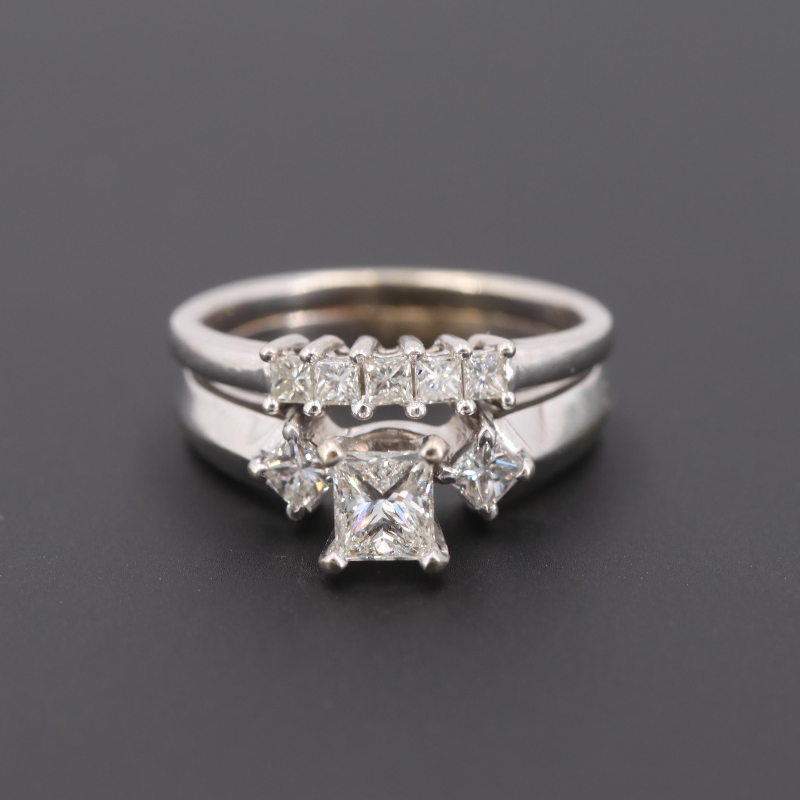 14K White Gold 1.05 CTW Diamond Ring