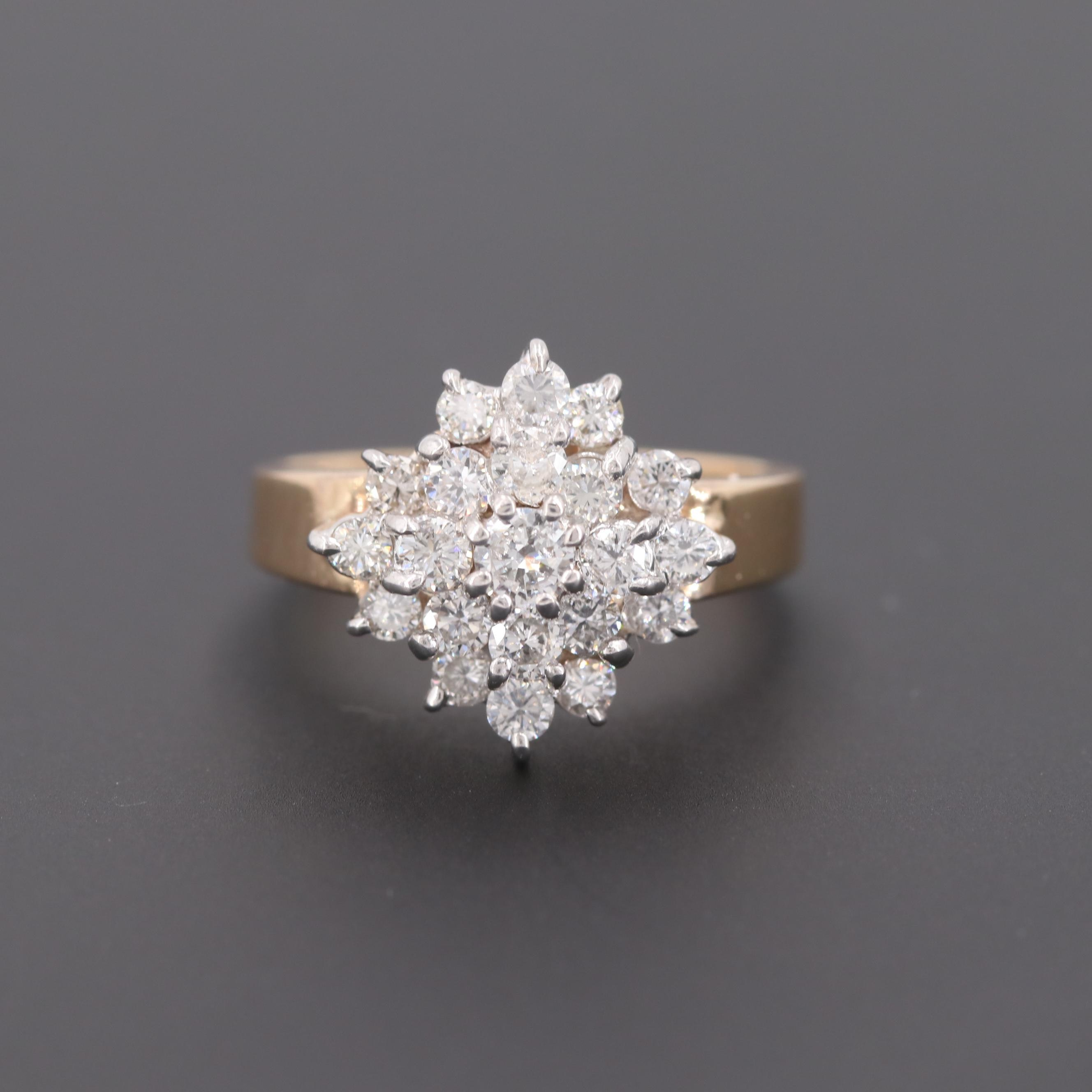 14K Yellow Gold 1.12 CTW Diamond Cluster Ring