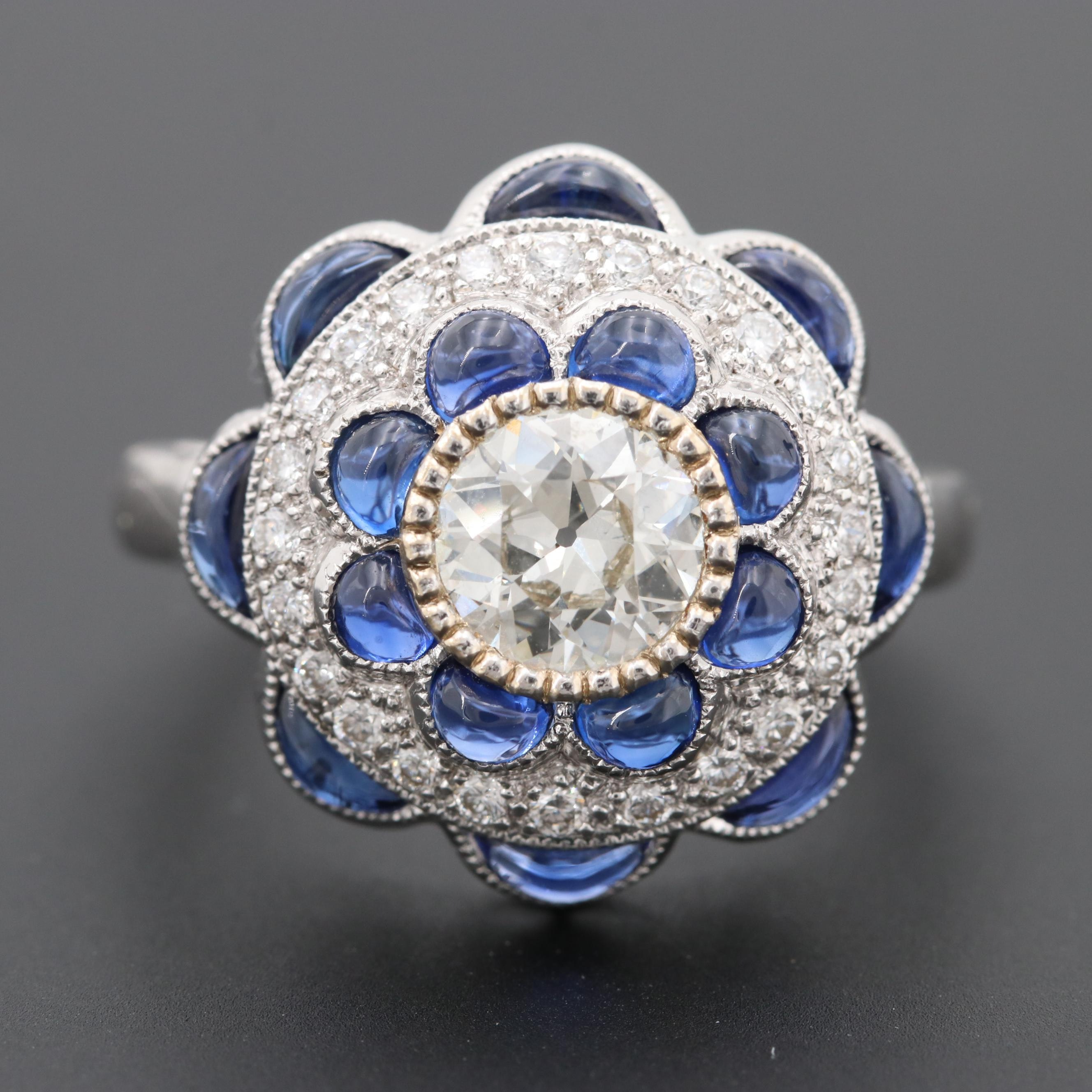 18K White Gold 1.08 CTW Diamond and Sapphire Ring
