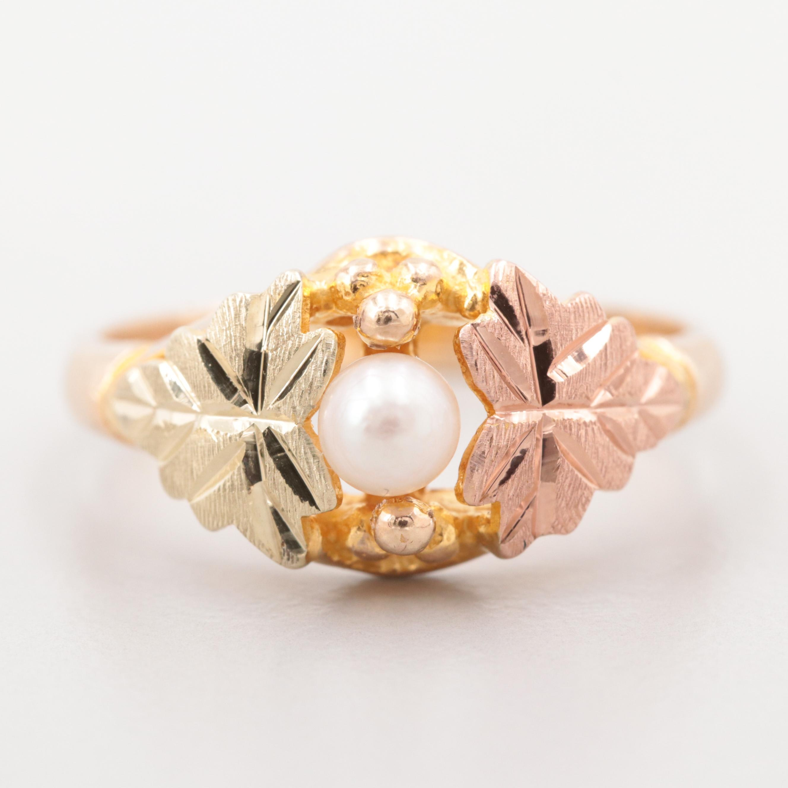 Black Hills Gold 10K Yellow Gold Cultured Pearl Grape Leaf Motif Ring