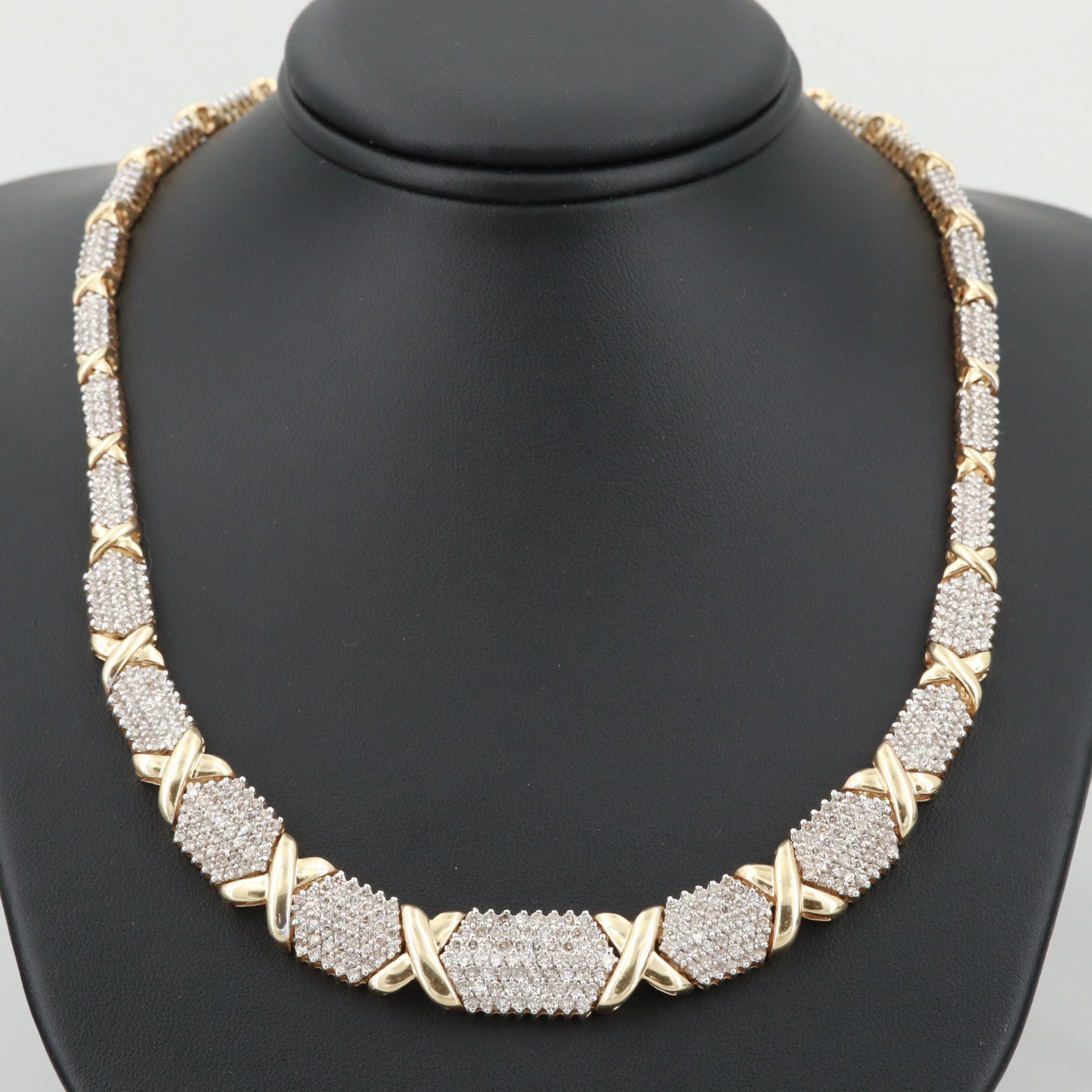 14K Yellow Gold 9.00 CTW Diamond Necklace