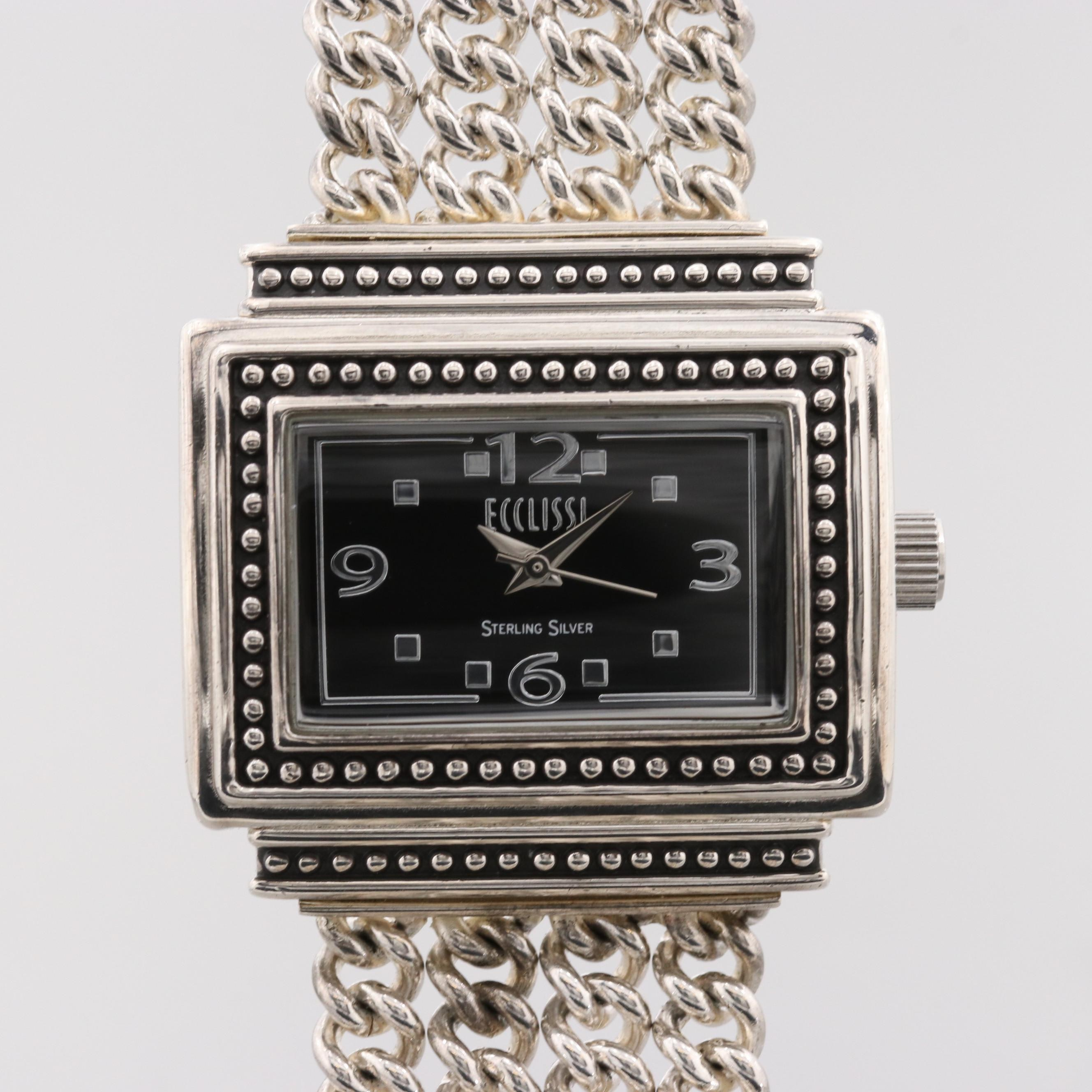 Ecclissi Sterling Silver And Stainless Steel Quartz Wristwatch
