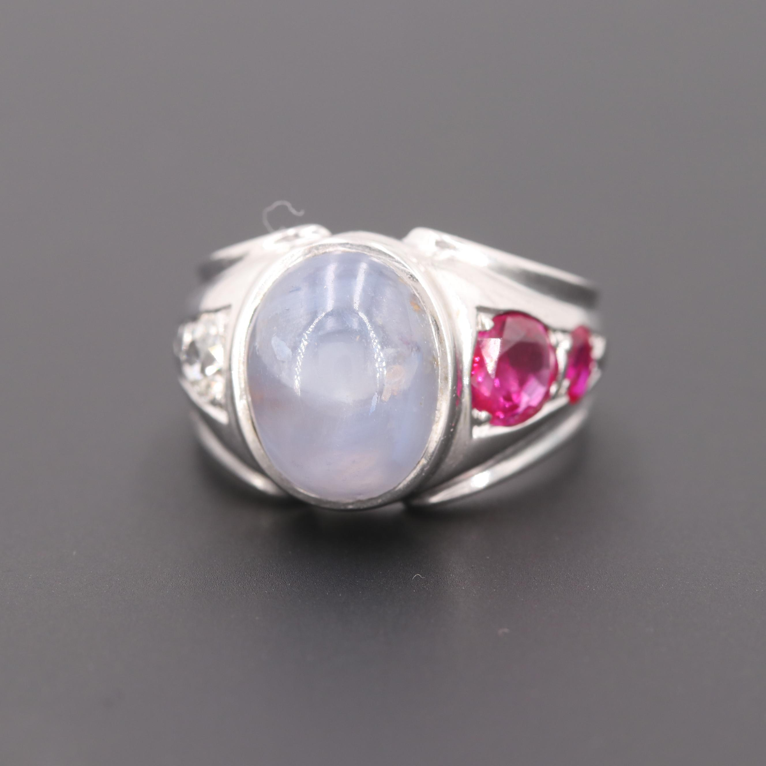 14K White Gold Blue Star Sapphire, Ruby and Diamond Rings