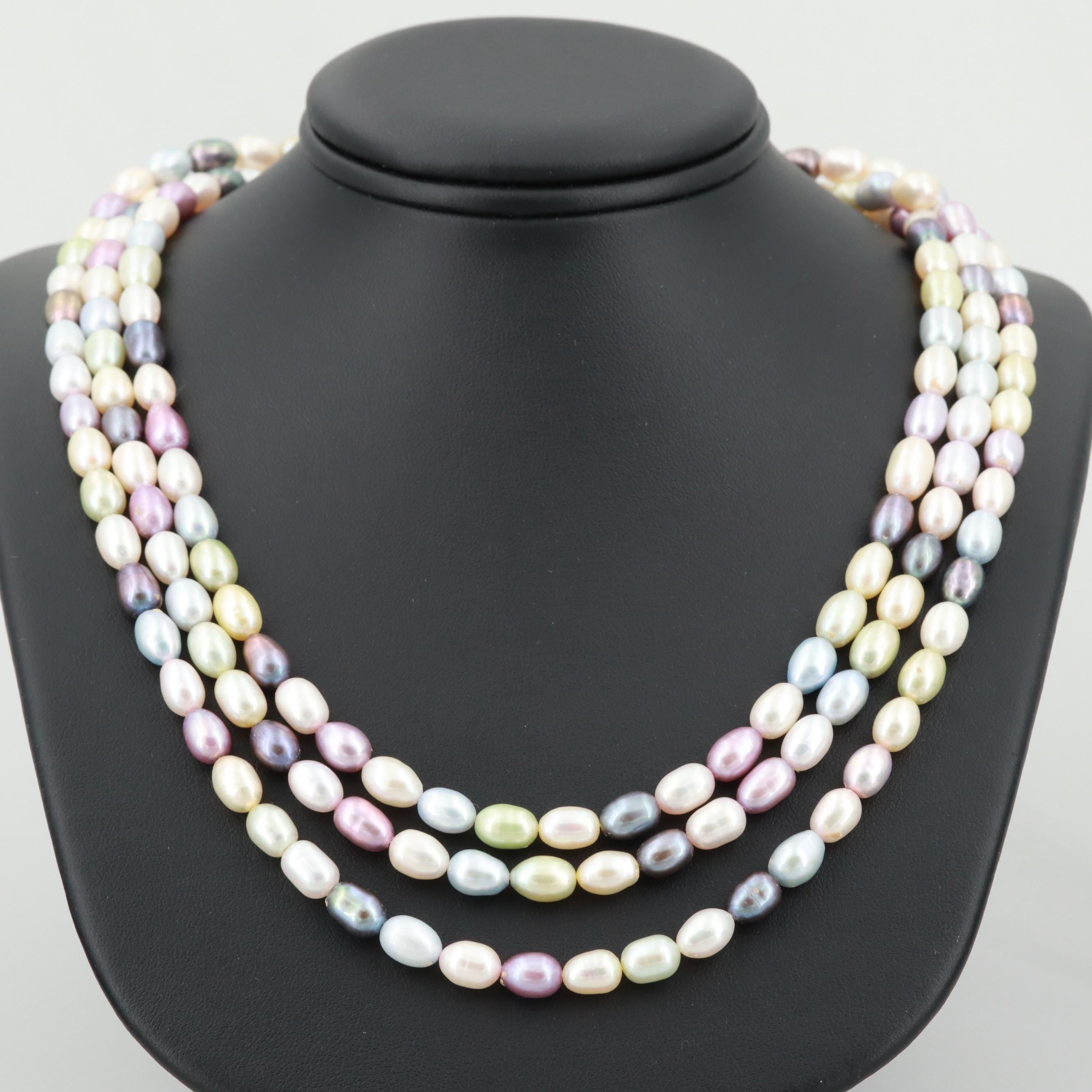 14K Yellow Gold Cultured Pearl Multi-Strand Beaded Necklace