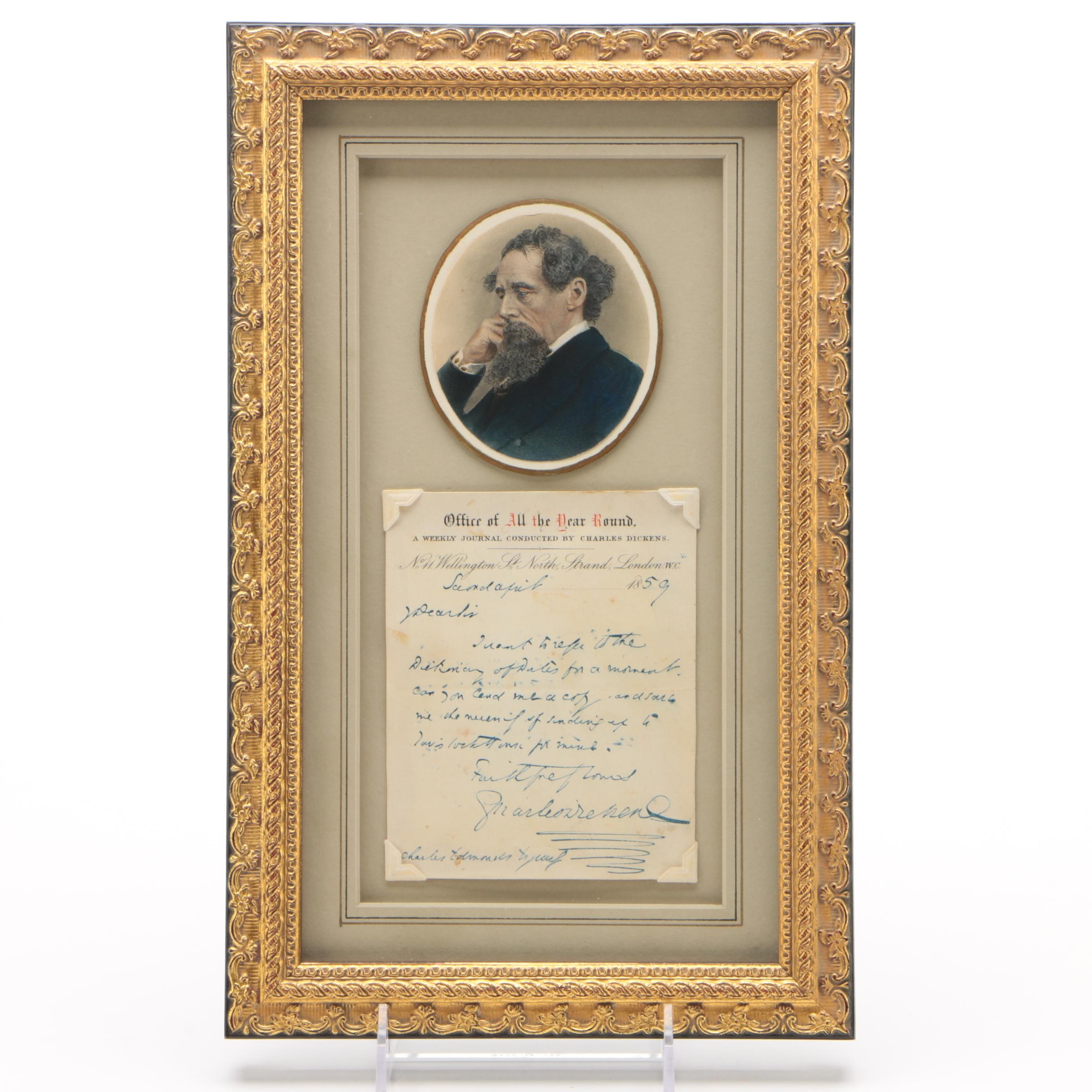 """Charles Dickens Autograph Letter Signed, Office of """"All the Year Round"""" 1859"""