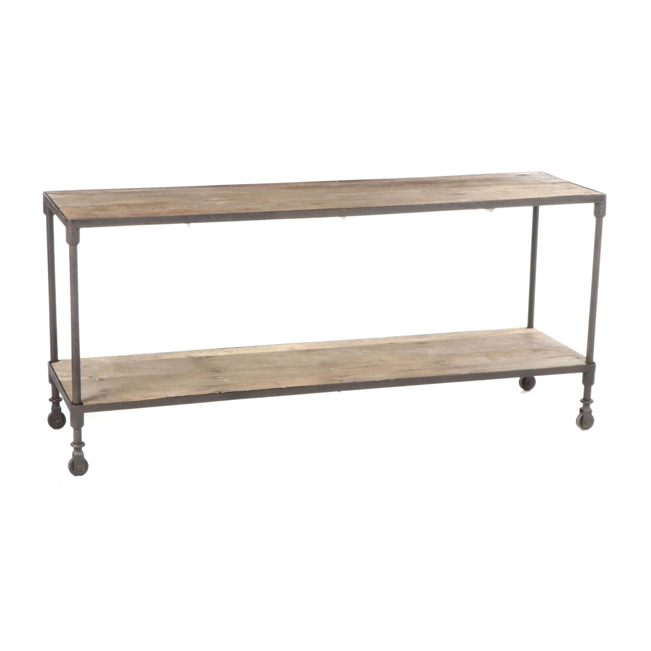 Industrial Style Pine and Metal Console Table on Casters, 20th Century