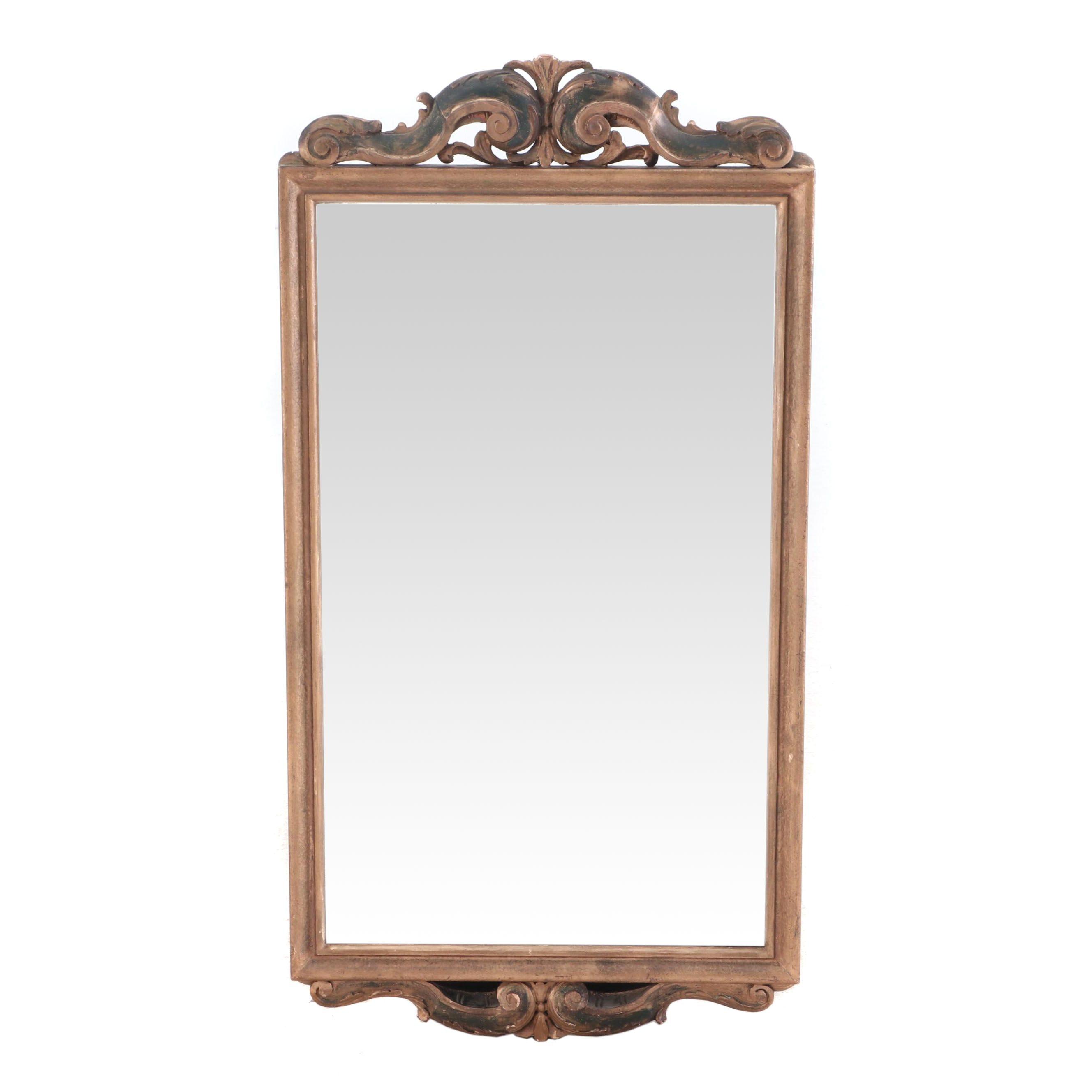 Scrolled Pediment Gilt Finish Wall Mirror
