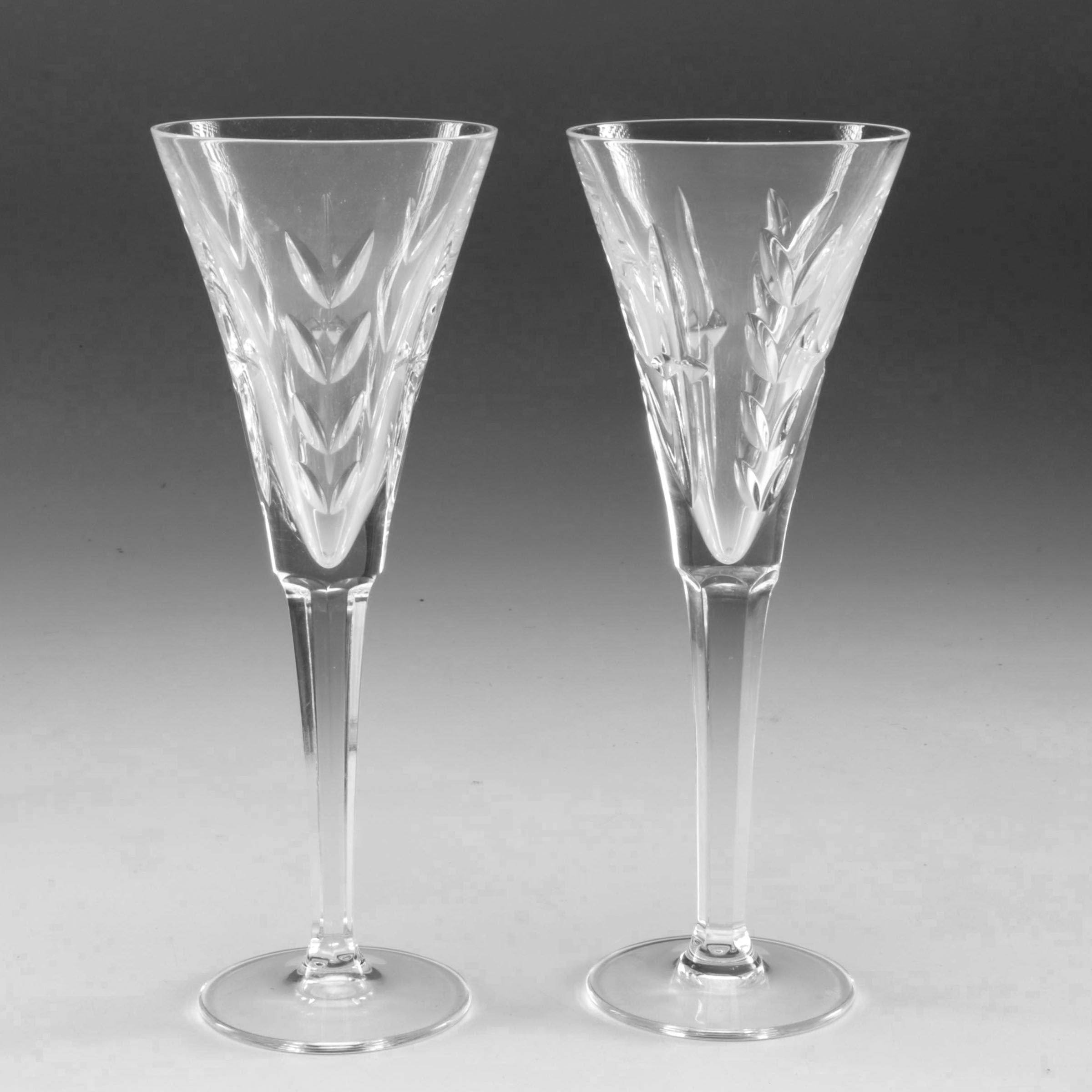 "Waterford Crystal ""America's Heritage"" Fluted Champagne Glasses"