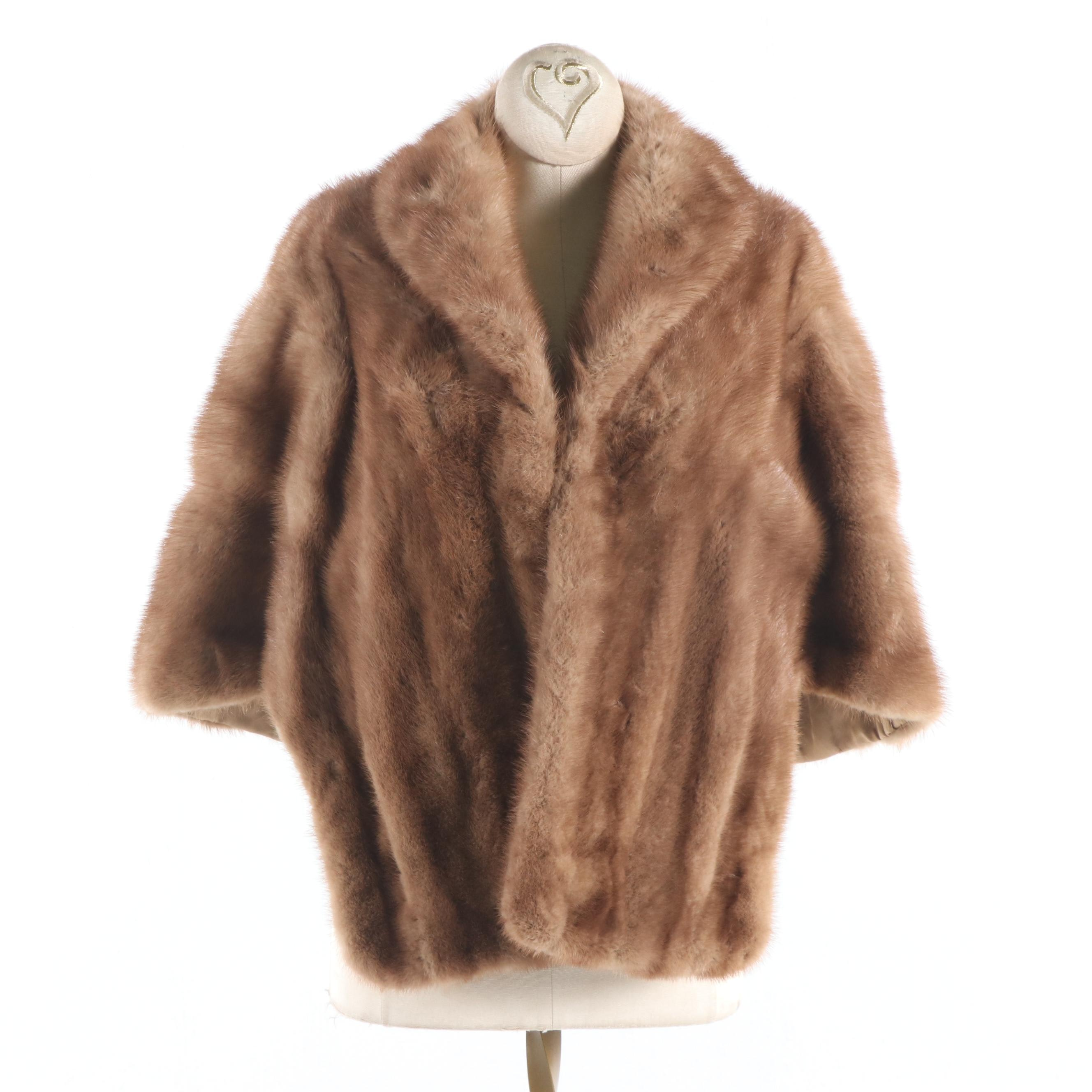 Women's McDaniels Emba Pastel Natural Brown Mink Fur Stole, Vintage