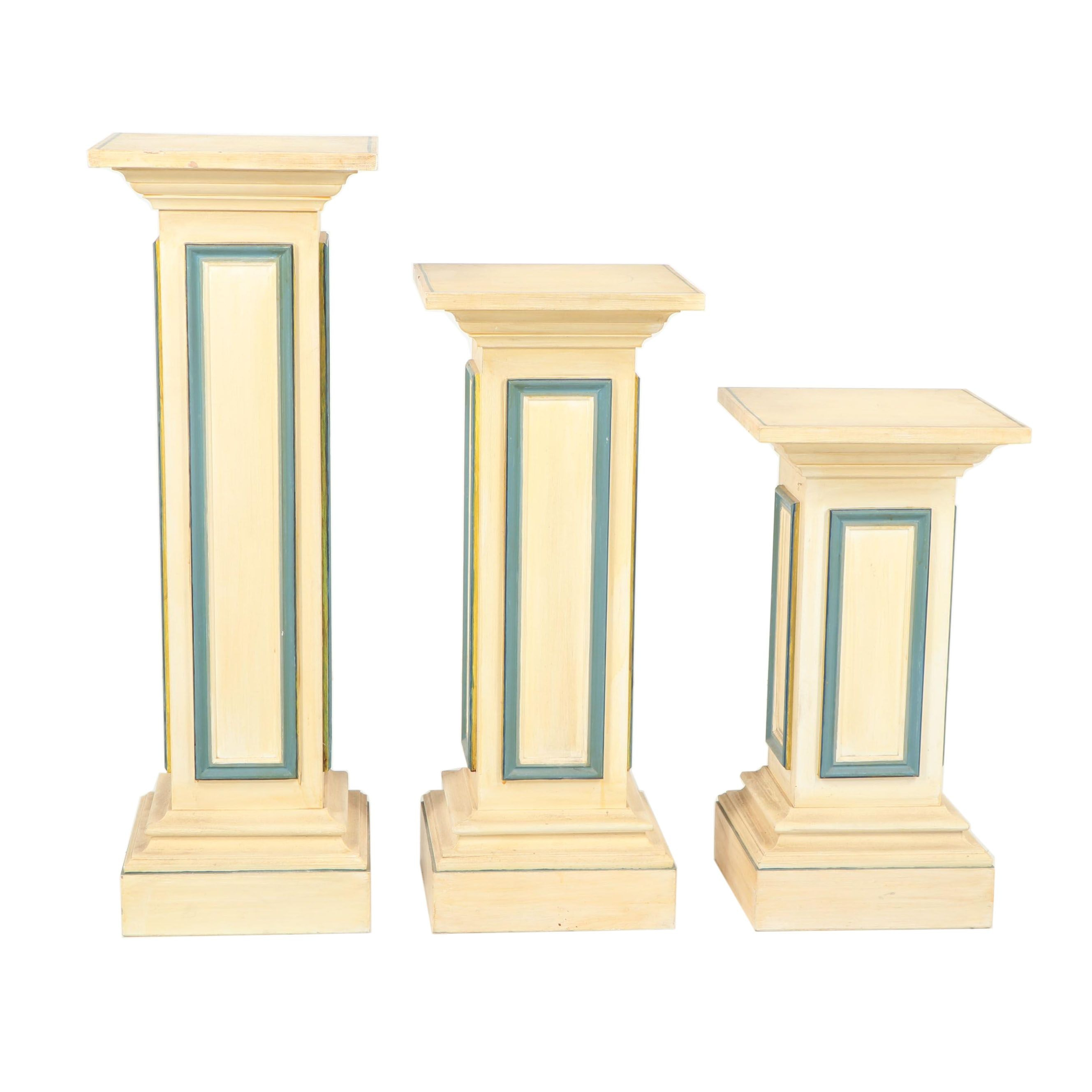 Painted Wood Pedestal Plant Stands, 21st Century