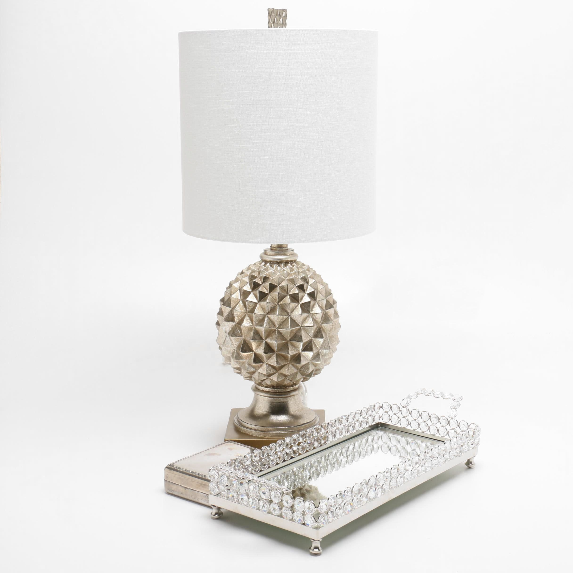 Table Lamp, Mirrored Tray, and Vanity Box