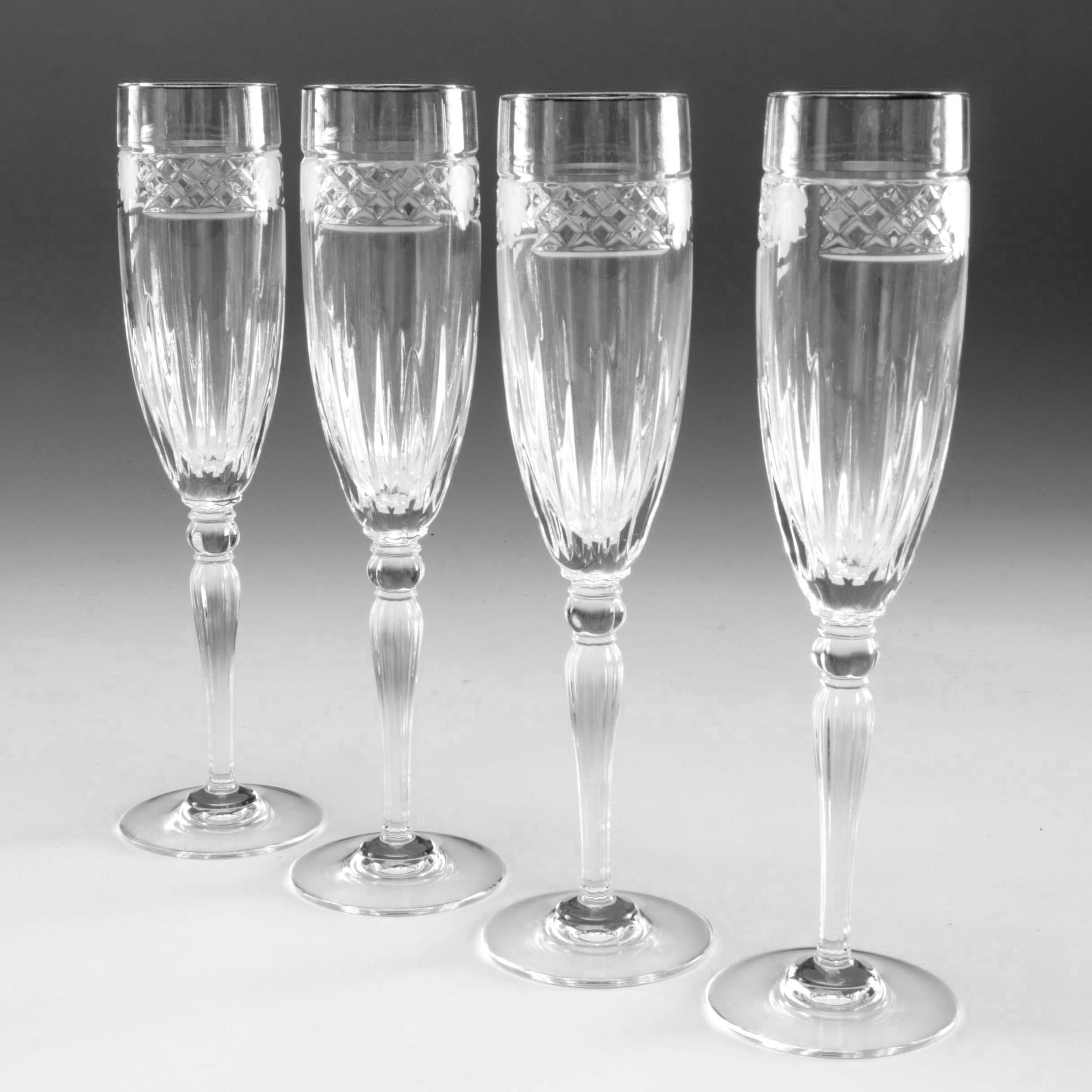 "Waterford Crystal ""Carleton Shell"" Fluted Champagne Glasses"
