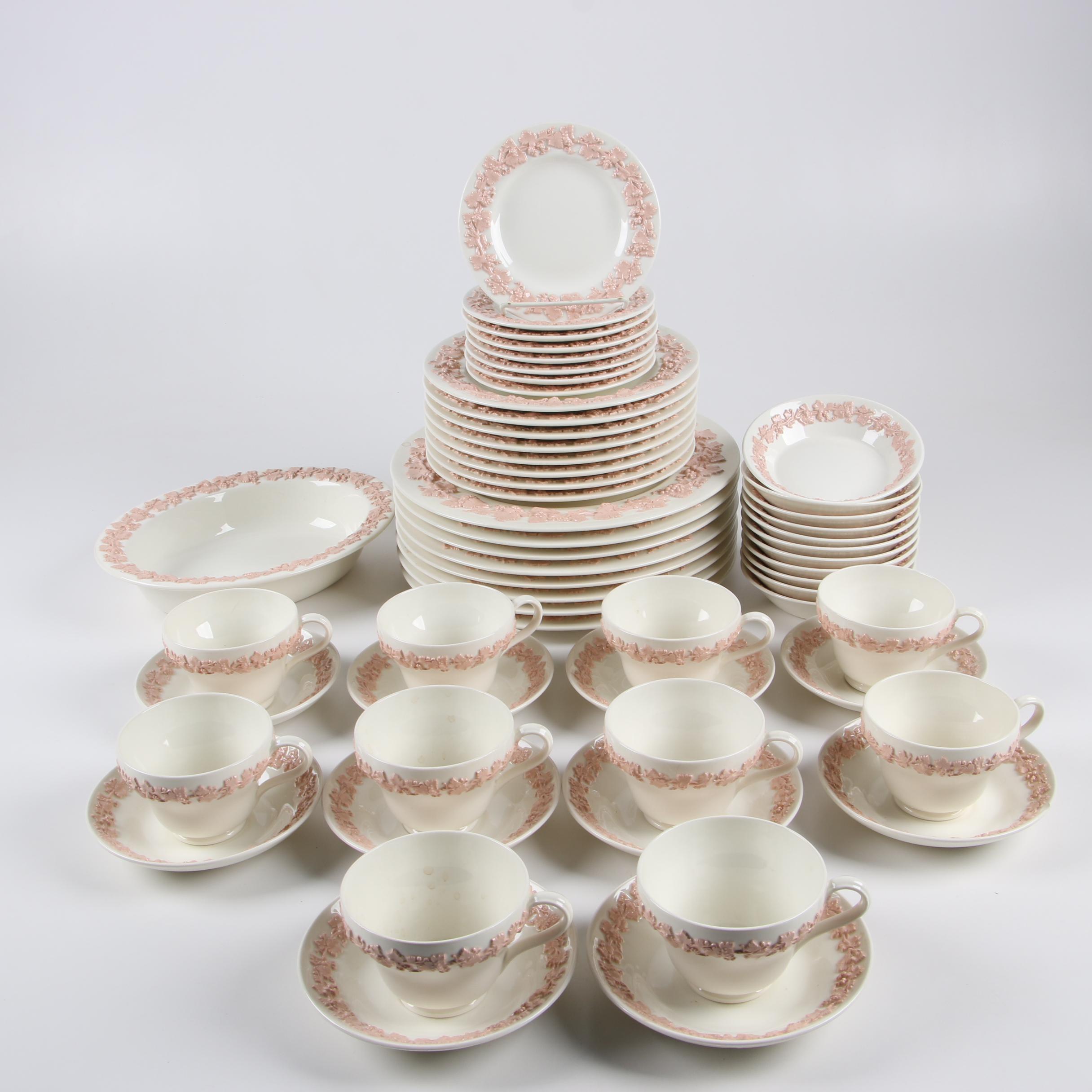 "Wedgwood ""Pink on Cream Color"" Dinnerware, Mid-Century"