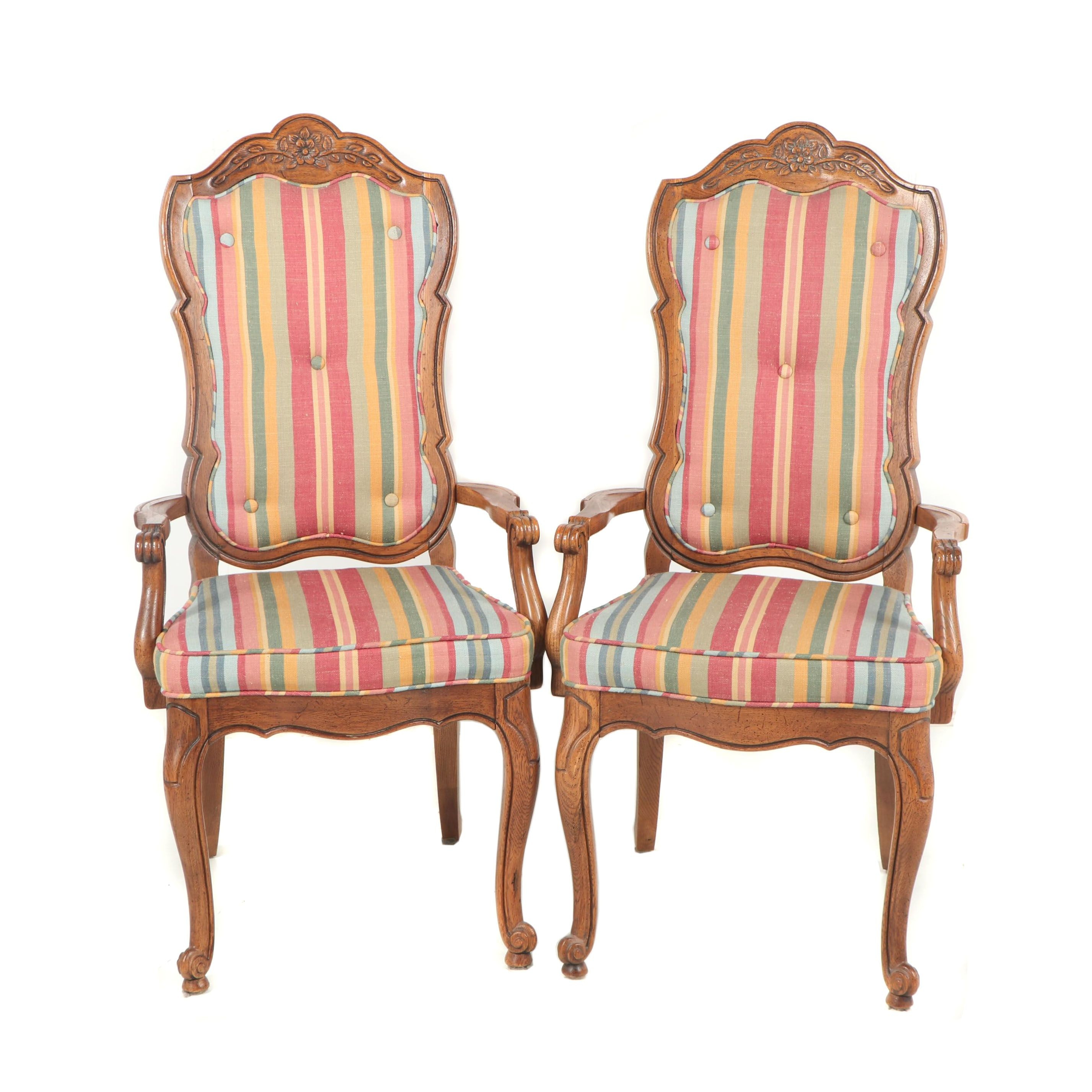 Louis XV Style Oak Frame Upholstered Dining Chairs, Late 20th Century