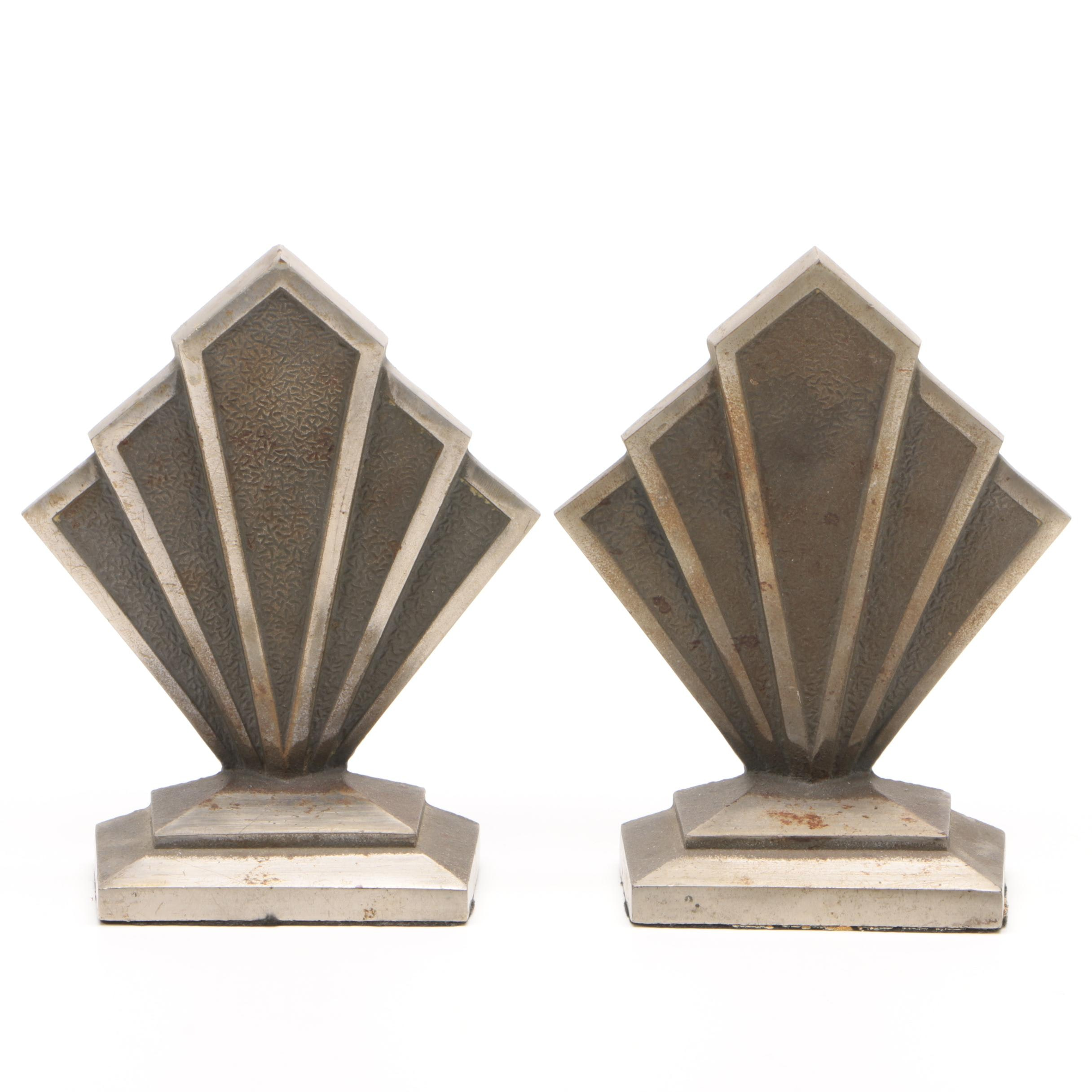 Hubley Cast Iron Art Deco Bookends, Early 20th Century