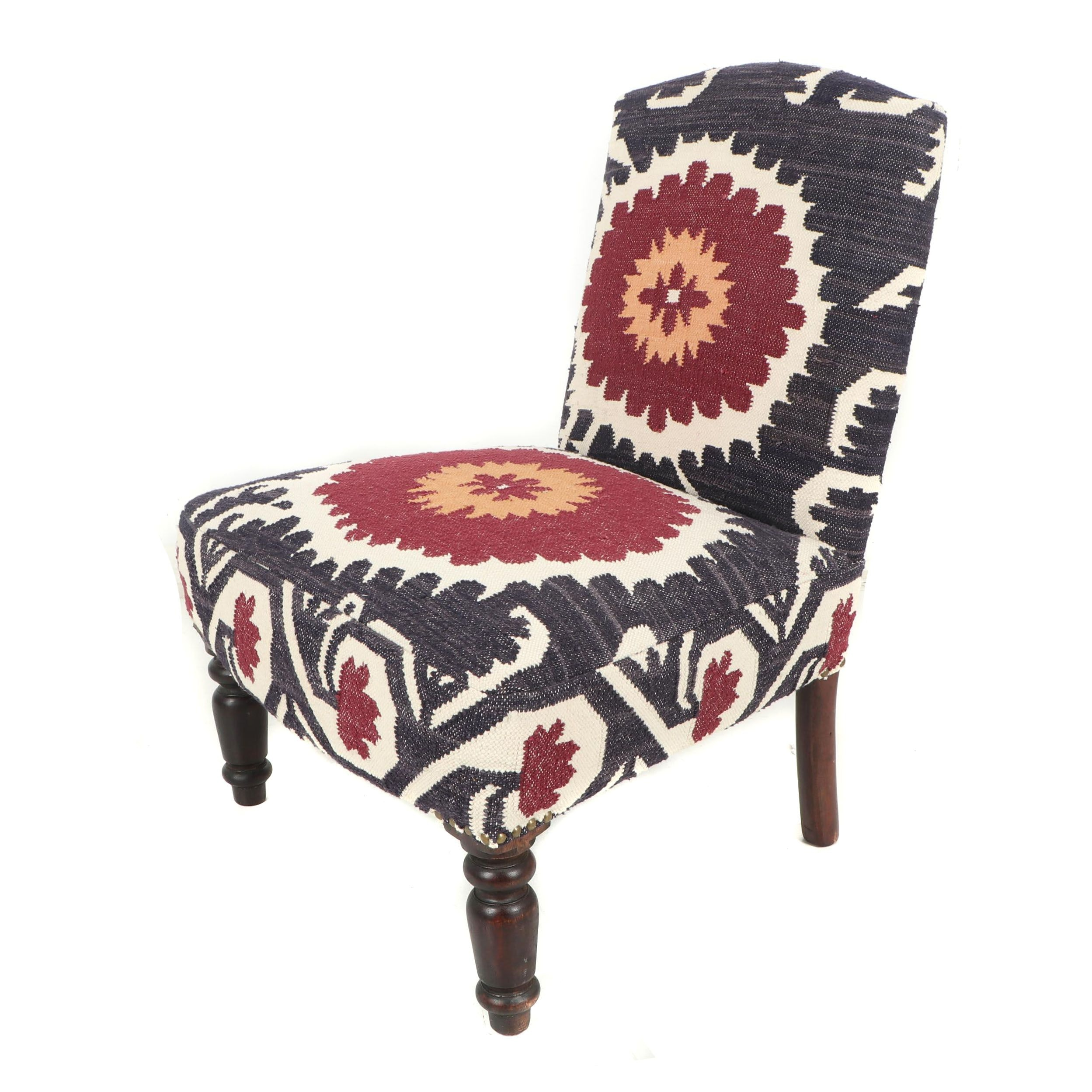 Contemporary Upholstered Side Chair in Flat Woven Rug Material