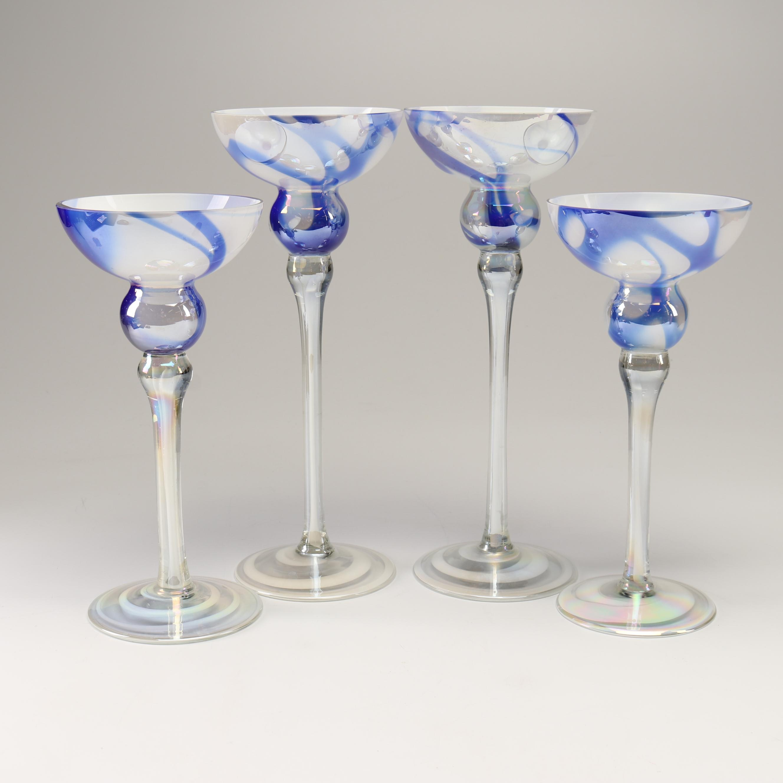 Contemporary Art Glass Candleholders