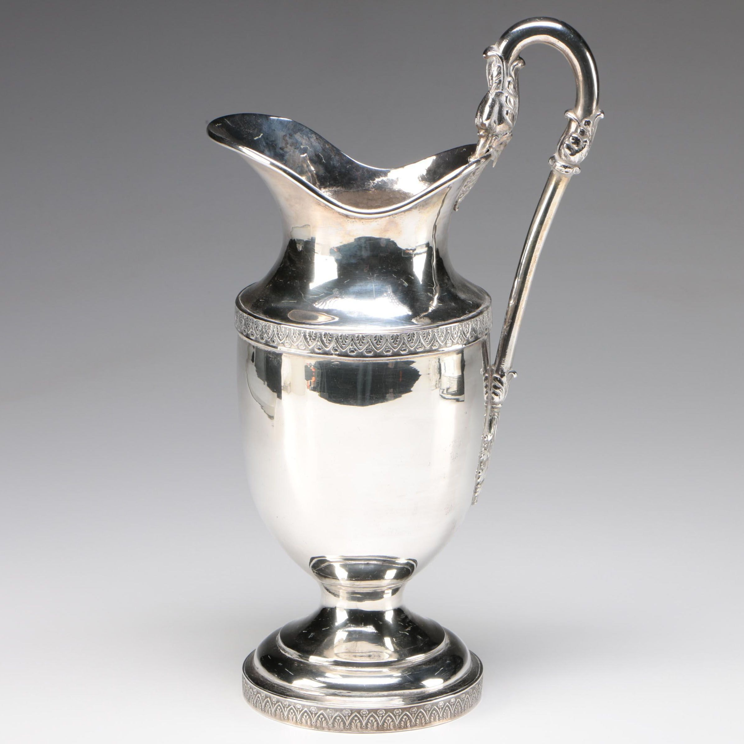 American Coin Silver Water Pitcher with Swan Handle