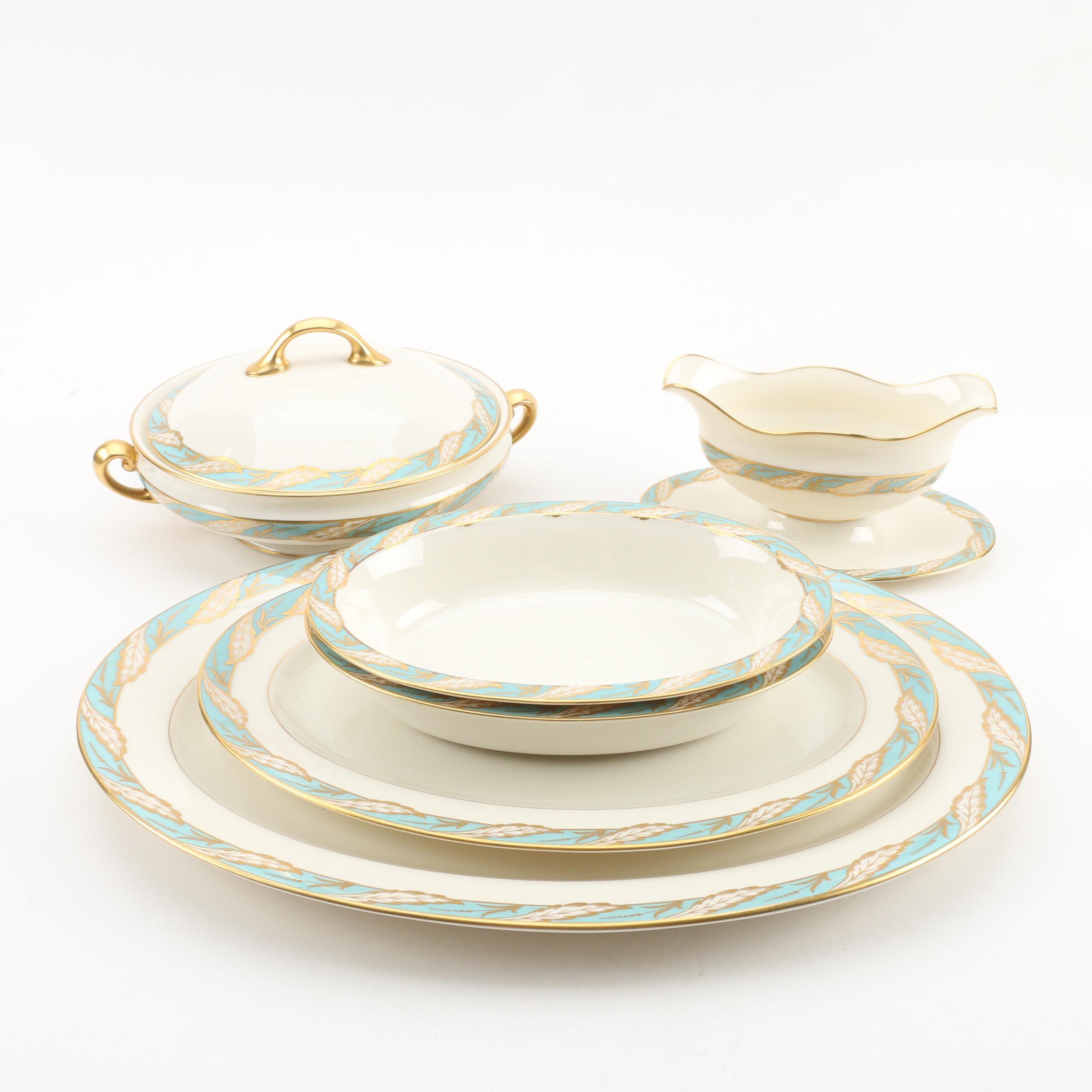 "Lenox ""Bellevue Sea-Green"" Bone China Serveware, Mid-Century"