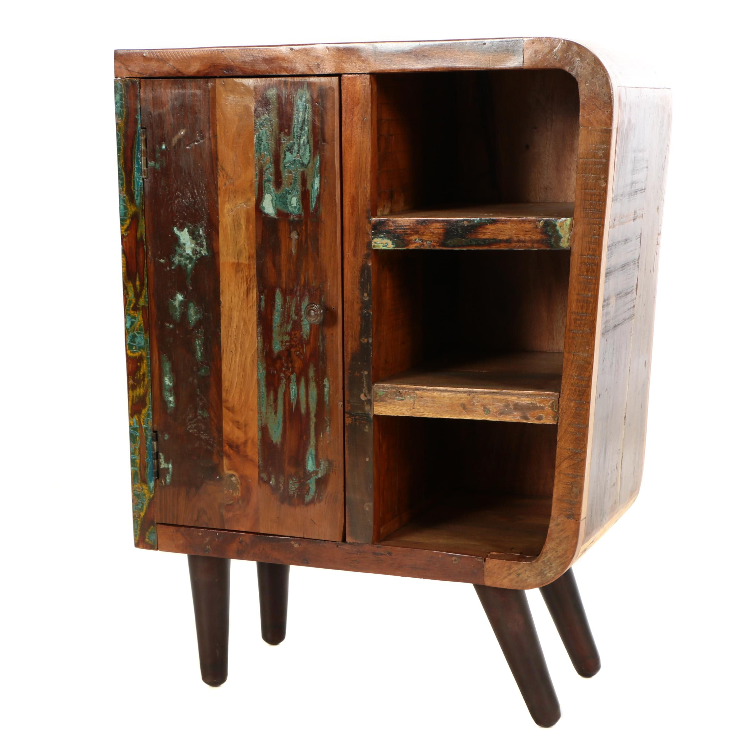 "Mid Century Modern Style ""Retro"" Distressed Hardwood Side Table"