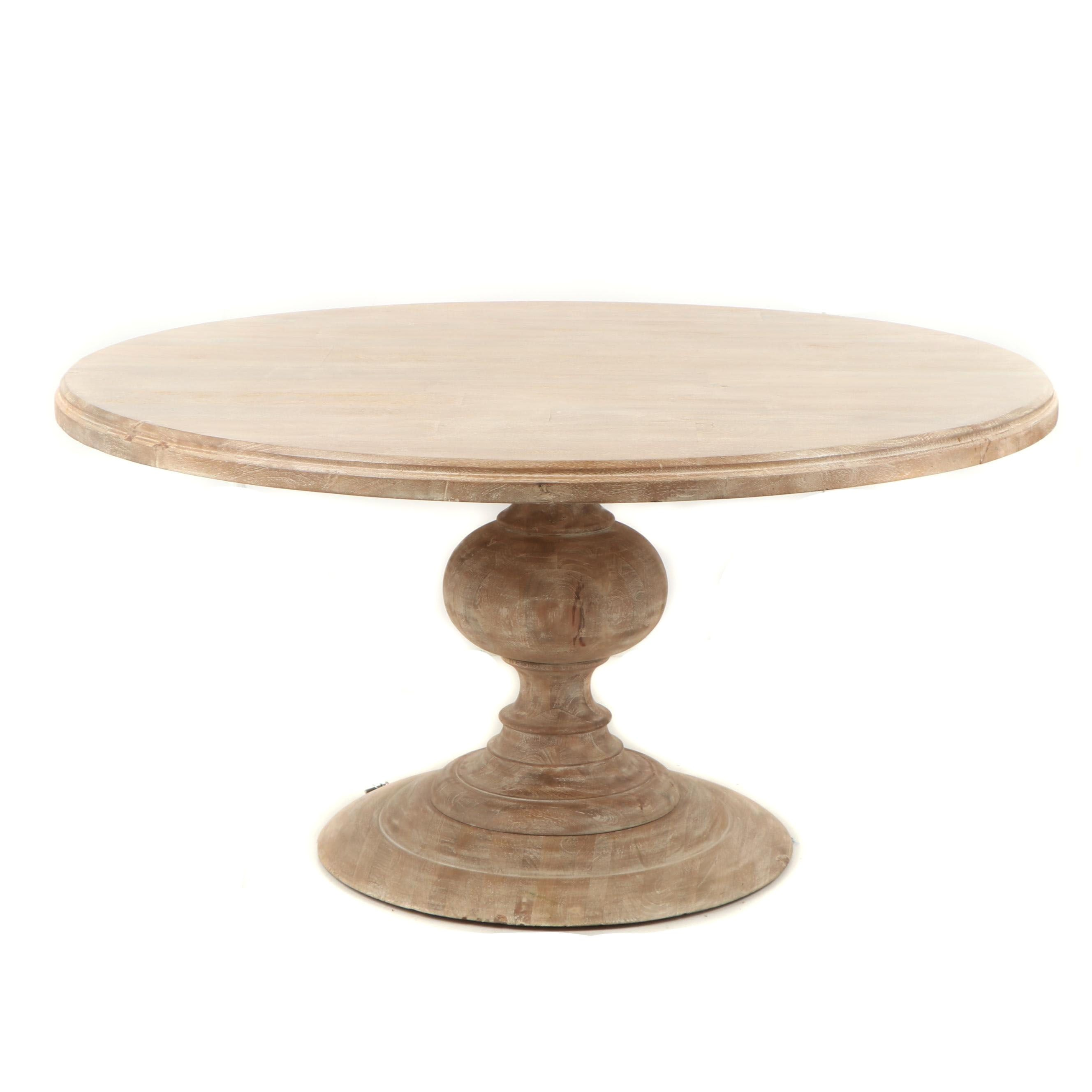 Contemporary Rustic Round Wooden Dining Table