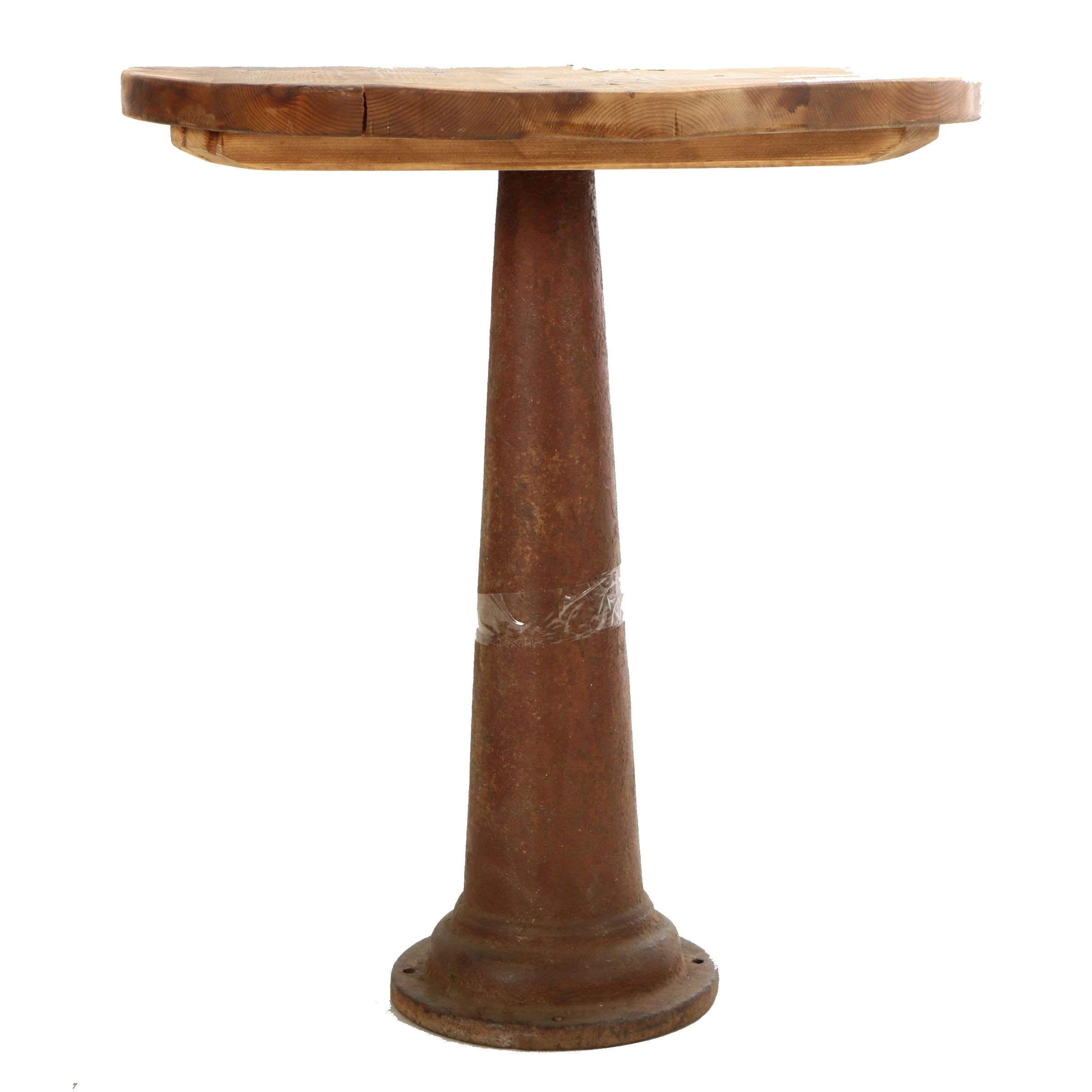 Industrial Style Pine and Cast Iron Pub Table, Late 20th Century