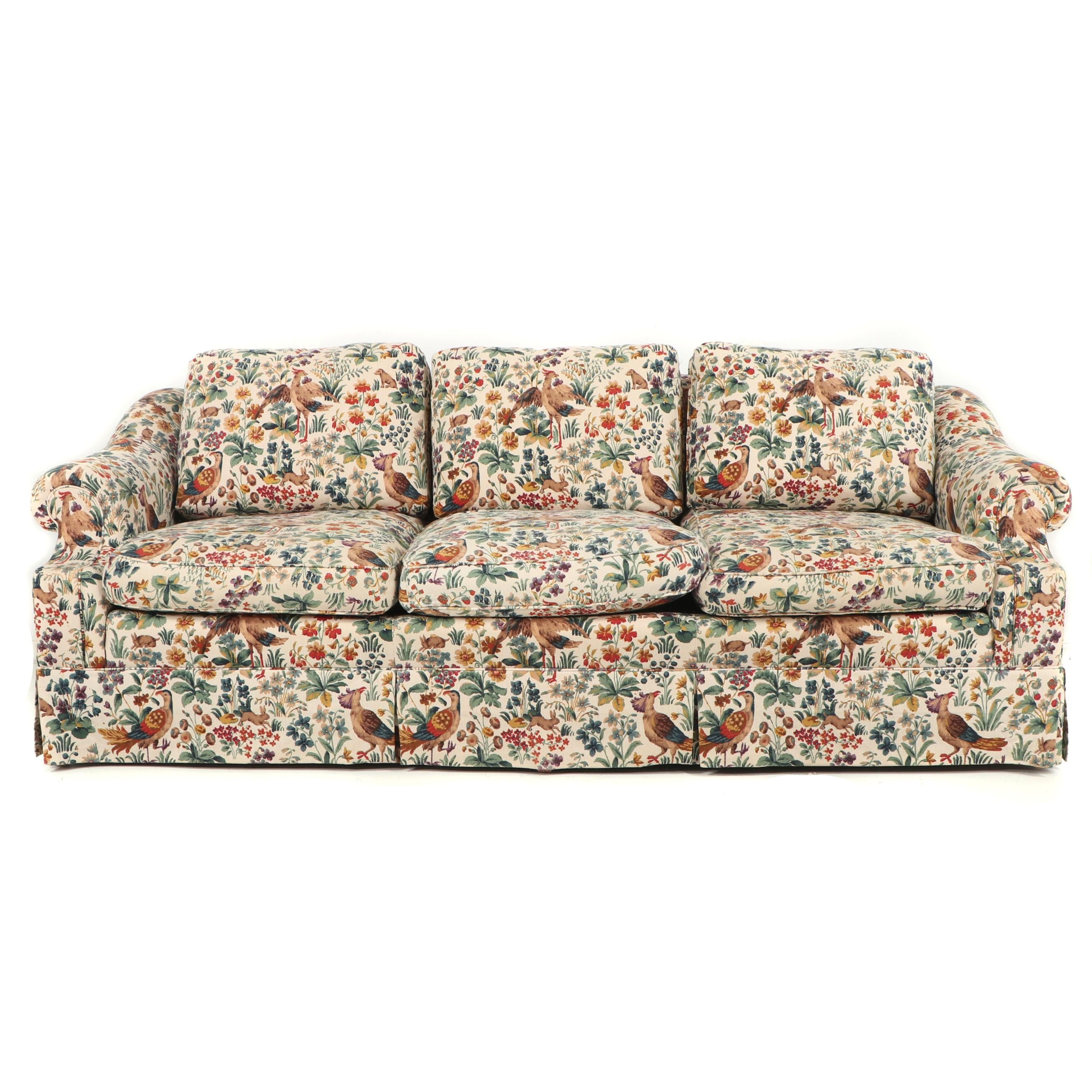 Schoonbeck Henredon Bird and Floral Sofa