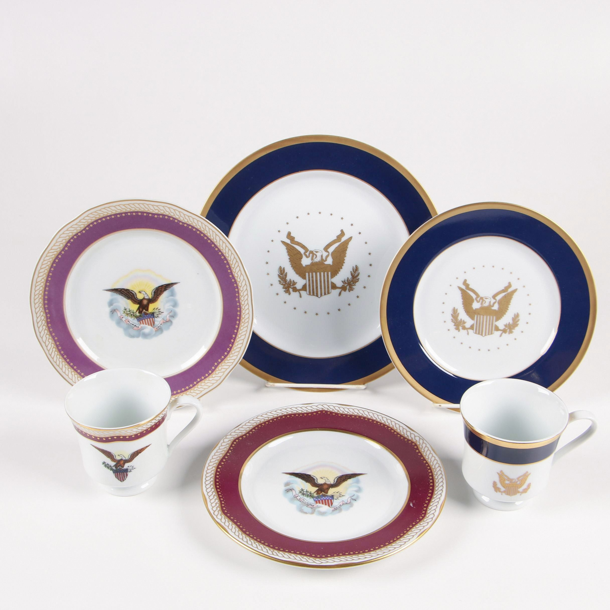 "Woodmere ""Presidential Collection"" Dinnerware featuring Lincoln and Clinton"