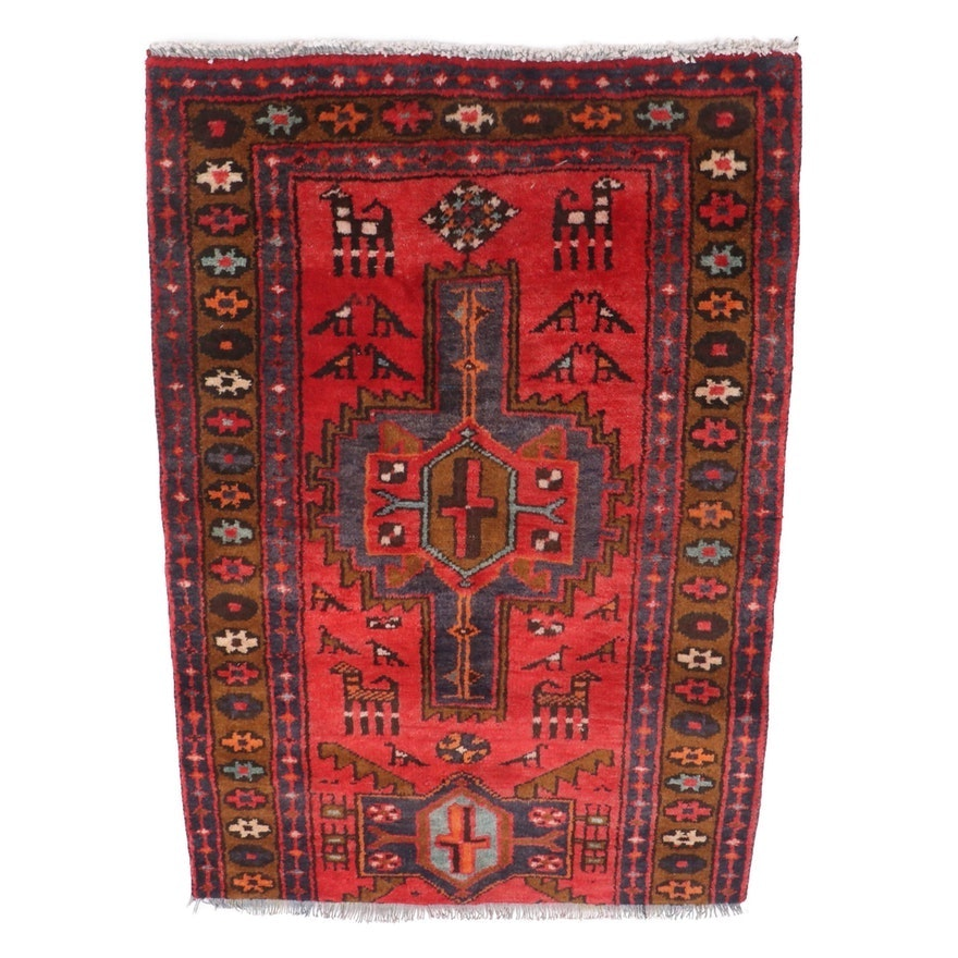 Hand-Knotted Northwest Persian Wool Accent Rug Fragment