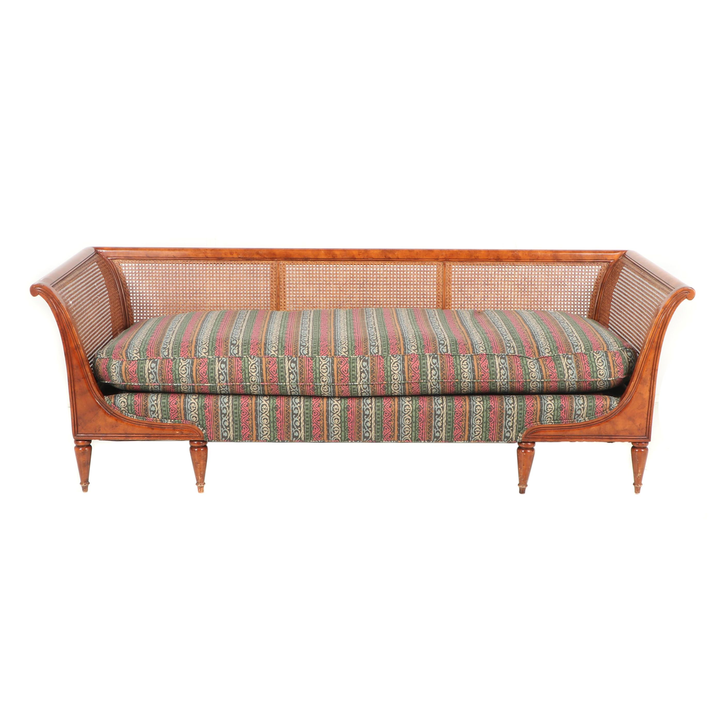 Vintage Federal Style Cane Back Sofa