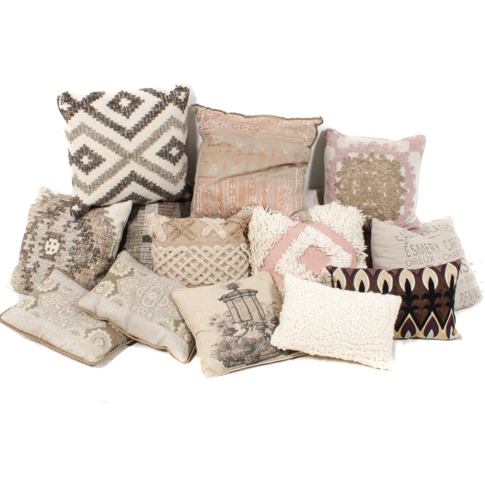 Woven, Beaded, Printed and Embellished Throw Pillows
