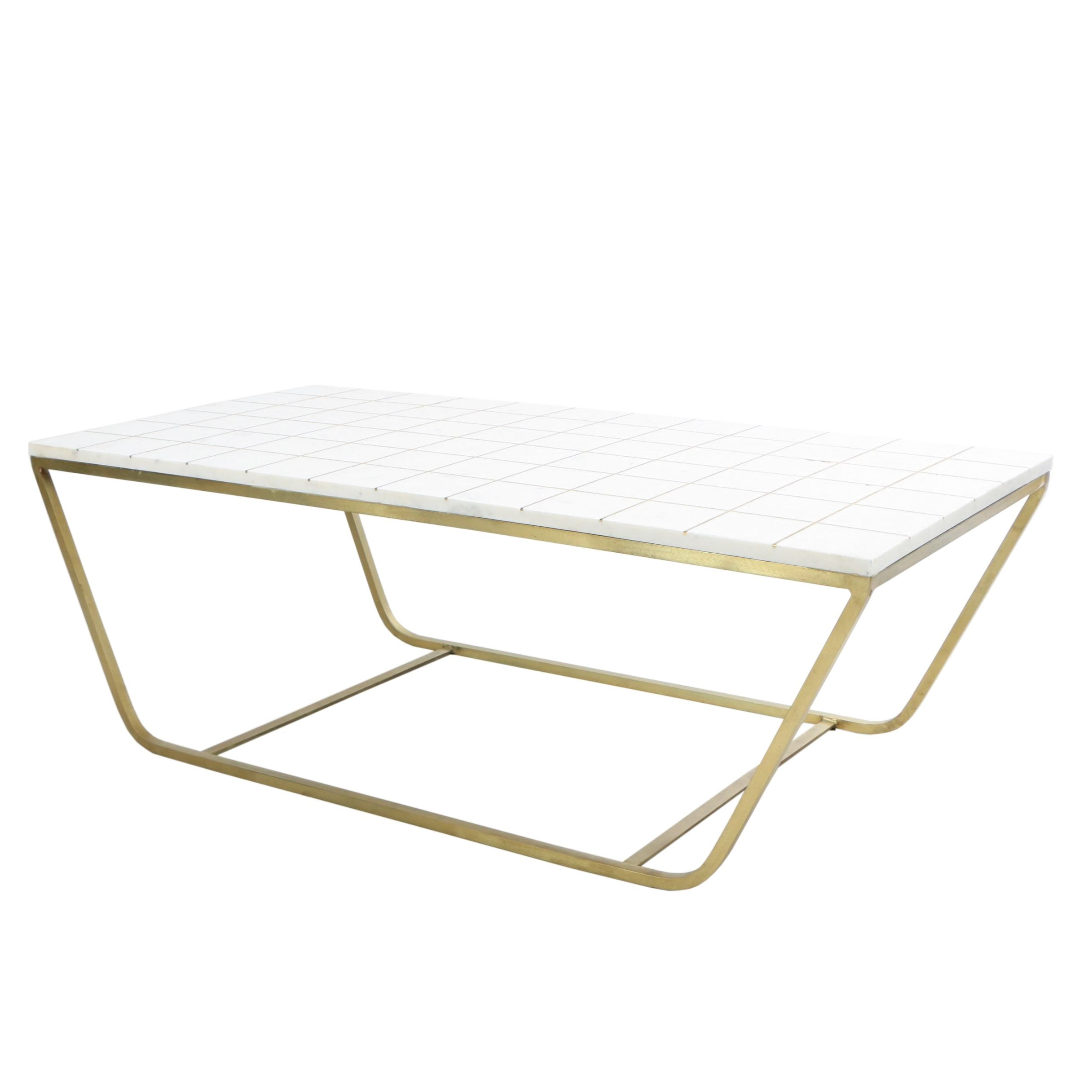 "Gold Tone Metal and Marble ""Regents"" Coffee Table"