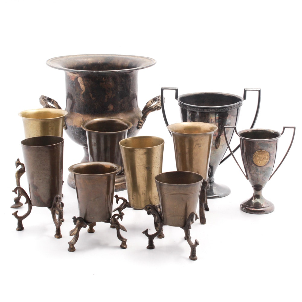 Victorian Style Footed Cups, Trophy Cups and Silver Plate Trophy Bucket