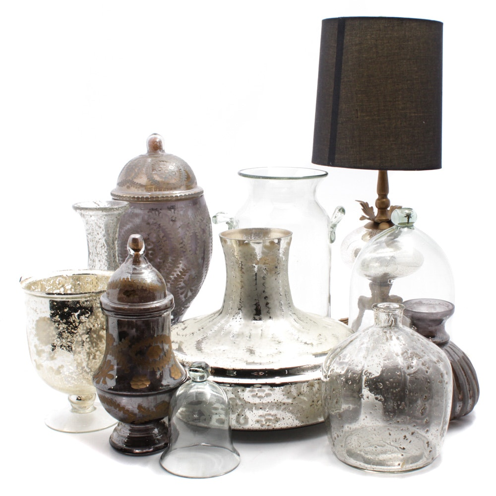 Glass and Metal Table Lamp with Other Glass Vessels