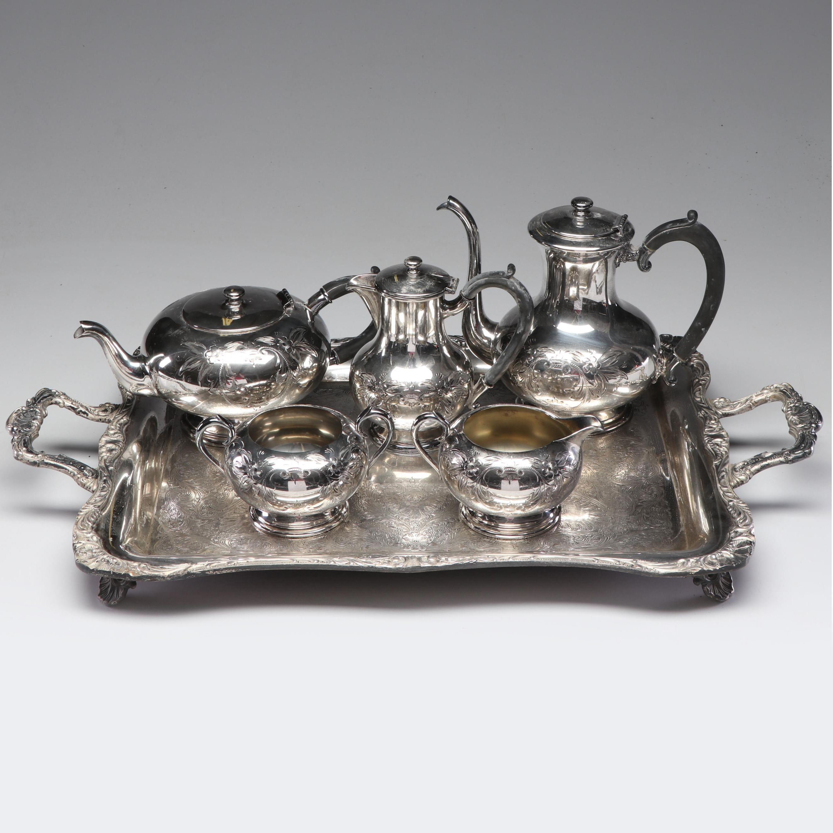 W M A. Rogers Silver Plate Tea and Coffee Serving Set