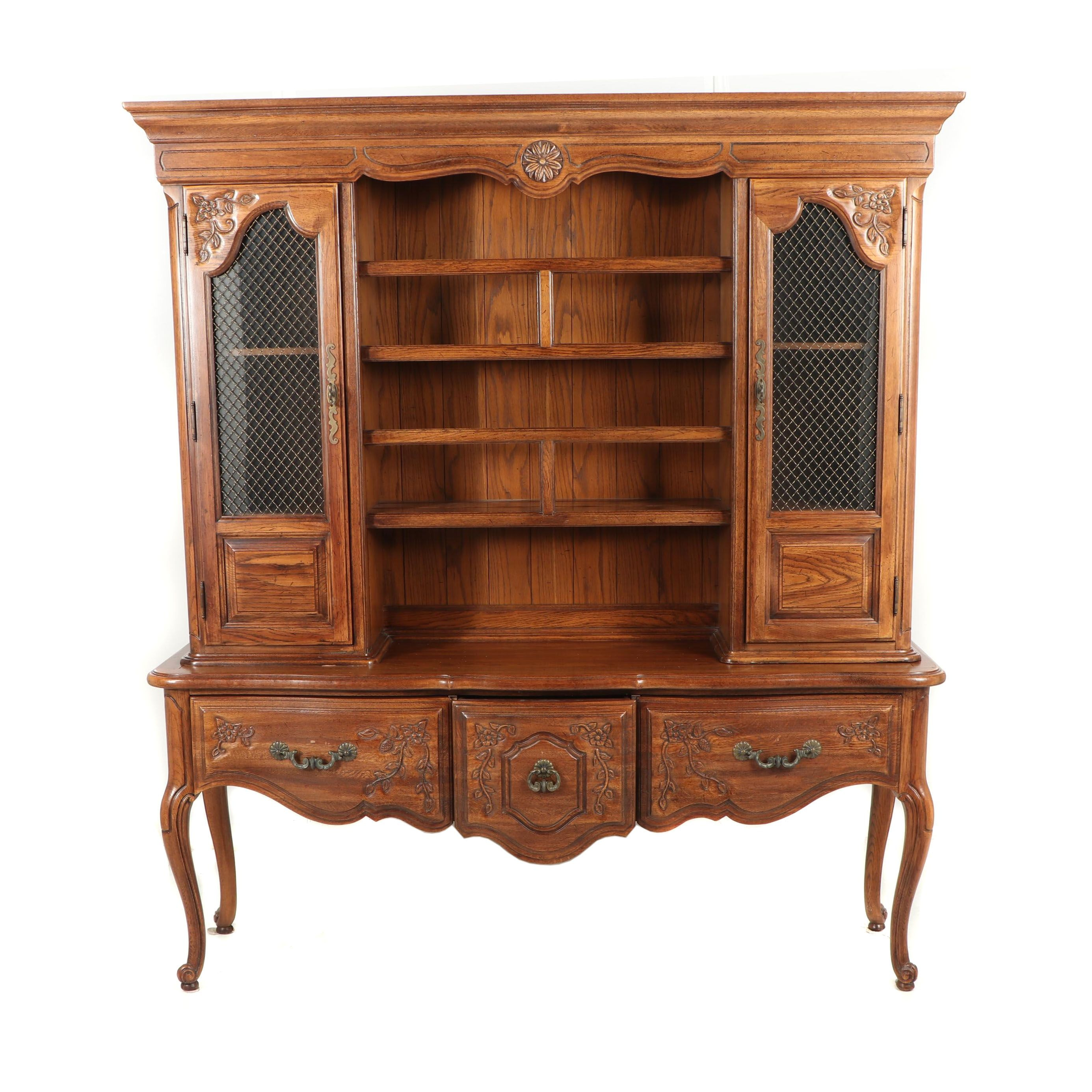 French Provincial Style Oak China Cabinet, Late 20th Century