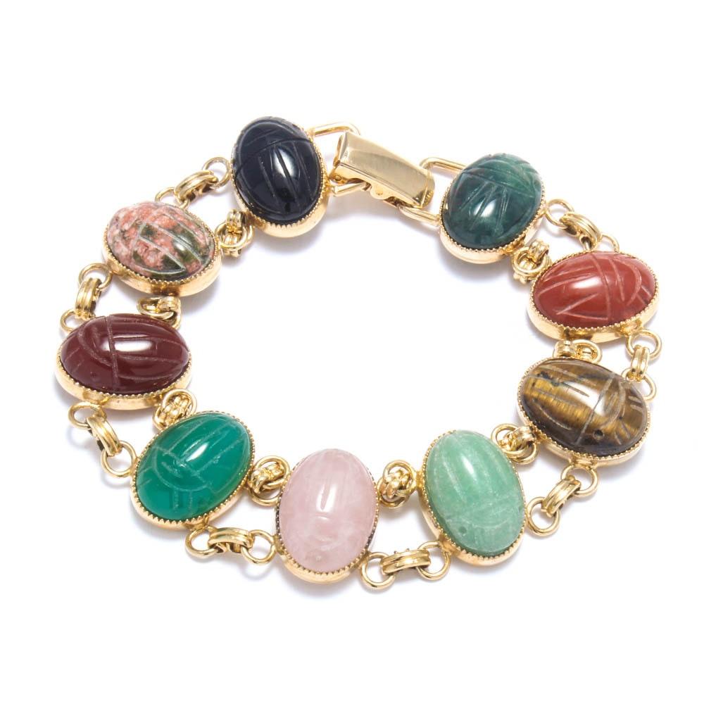 Gold Wash on Sterling Silver Carved Gemstone Scarab Bracelet