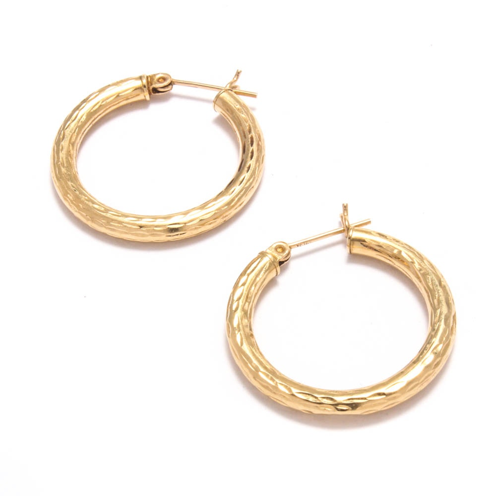 14K Yellow Gold Etched Hoop Earrings