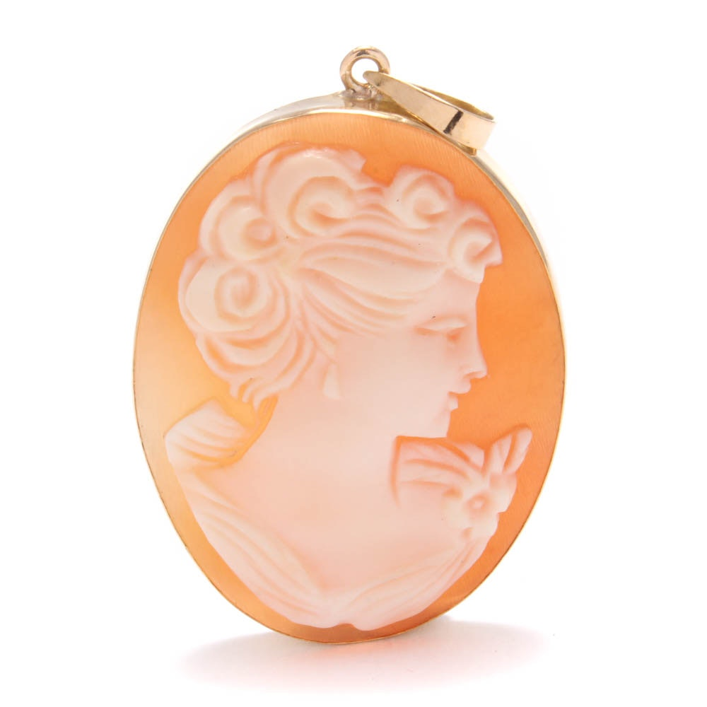 18K Yellow Gold Shell Cameo Pendant