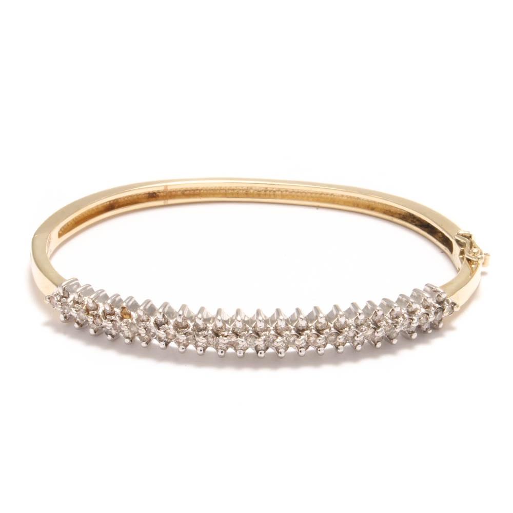 14K Yellow Gold 1.00 CTW Diamond Bangle Bracelet