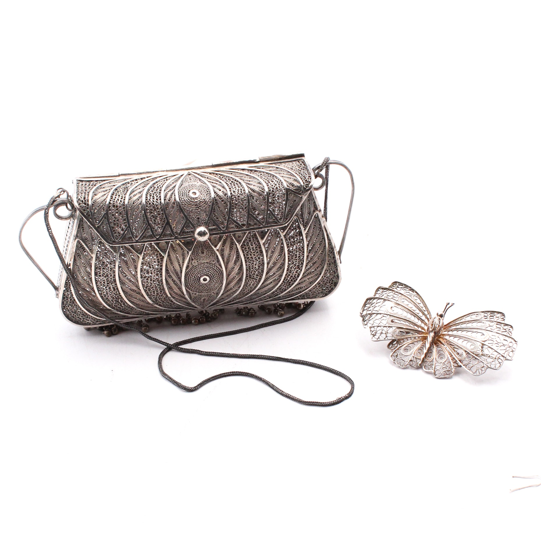 Sterling Silver Filigree Handbag and Brooch