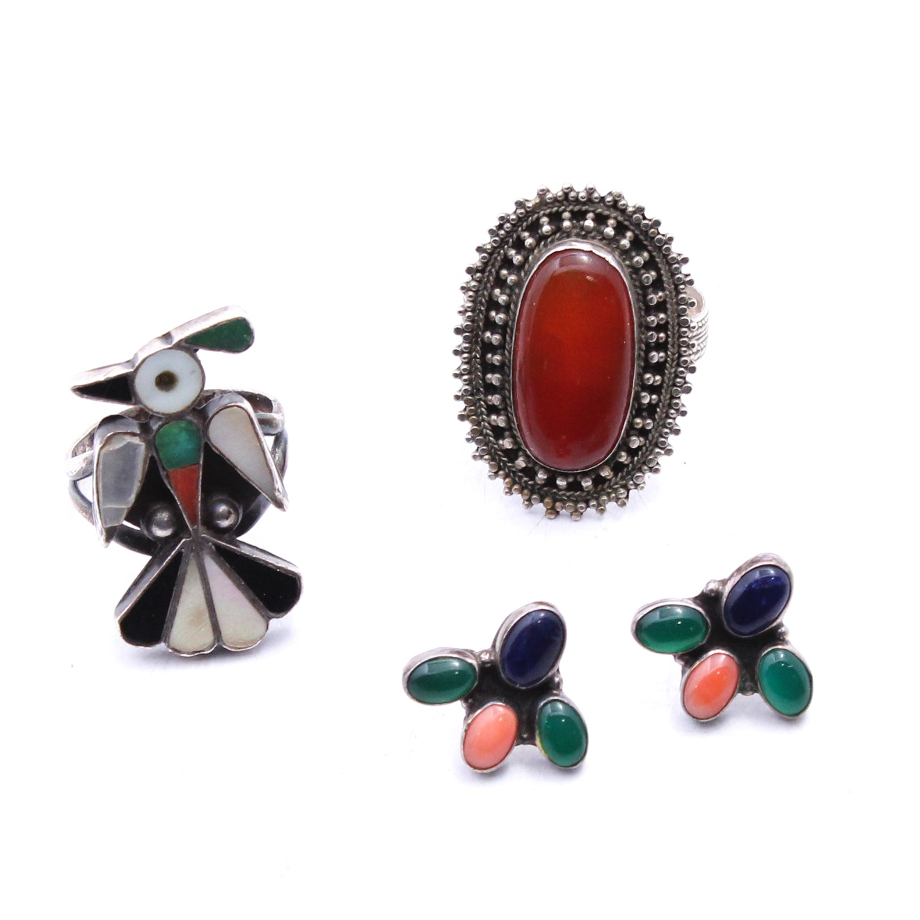 Southwestern Sterling Silver and Gemstone Rings and Earrings