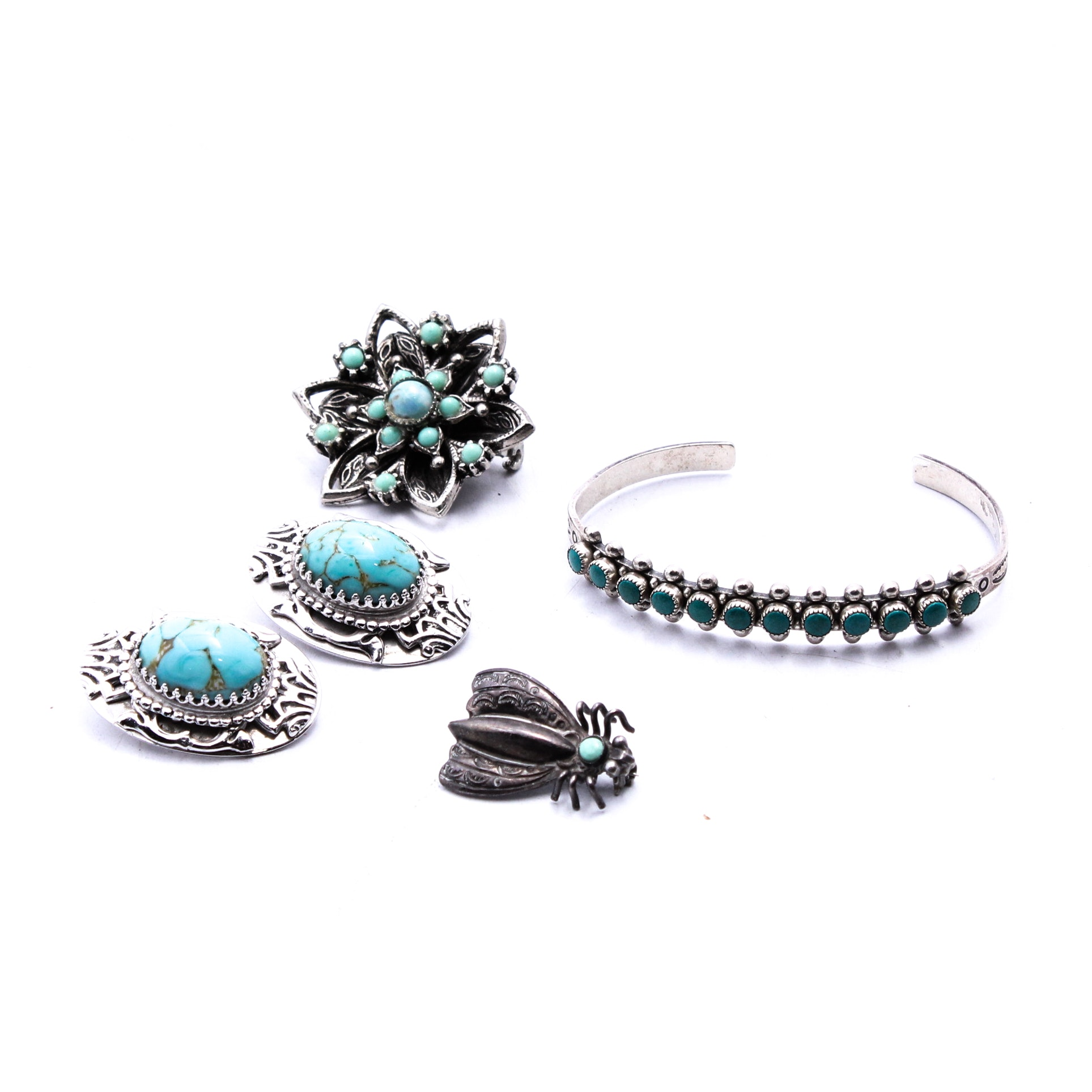 Sterling Silver and Dyed Turquoise Jewelry Collection