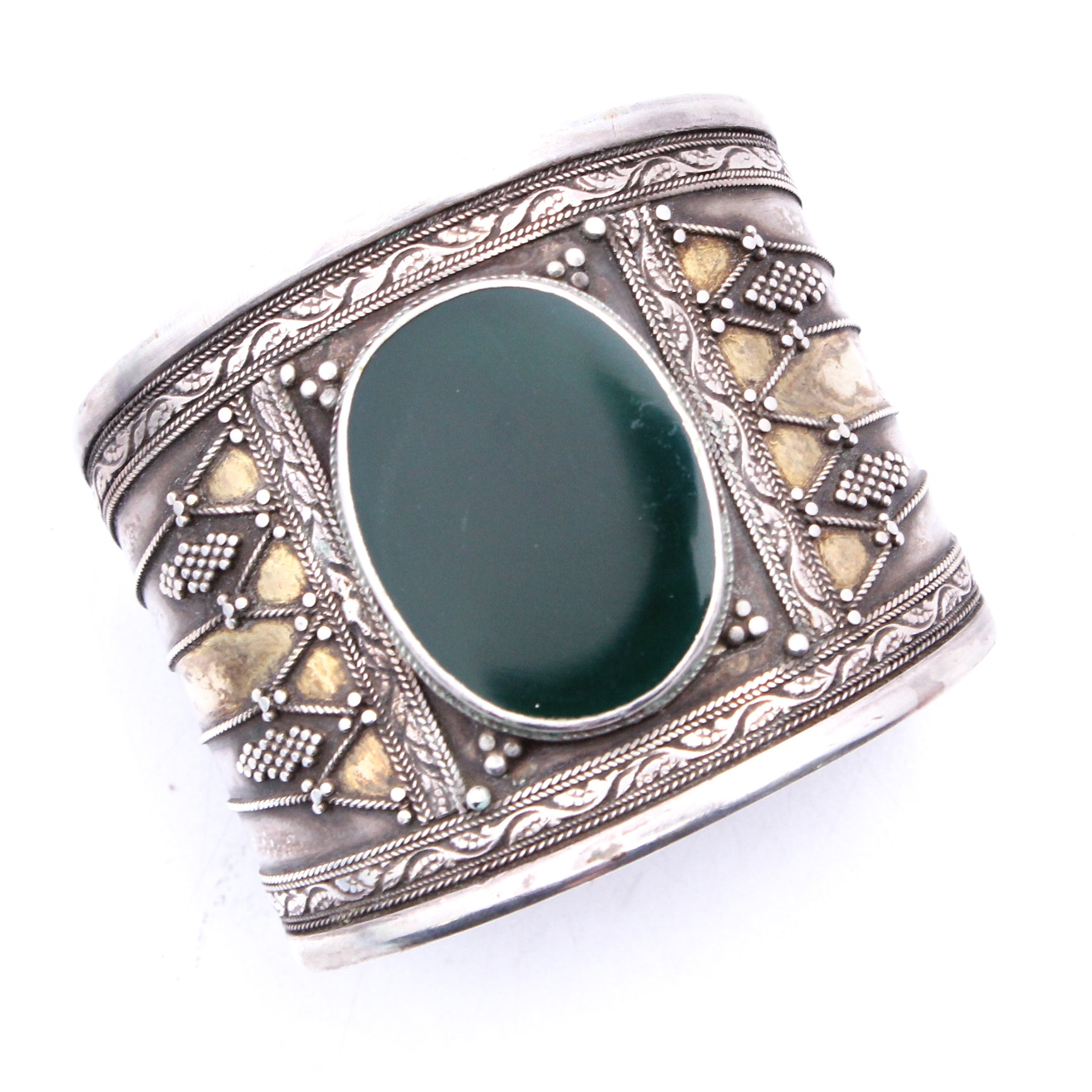 Sterling Silver and Glass Cuff Bracelet