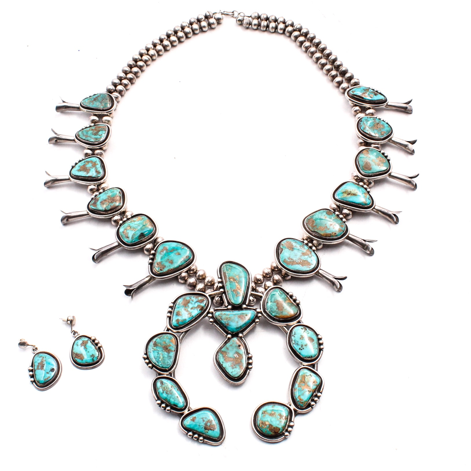 Southwestern Sterling Silver and Turquoise Squash Blossom Necklace and Earrings