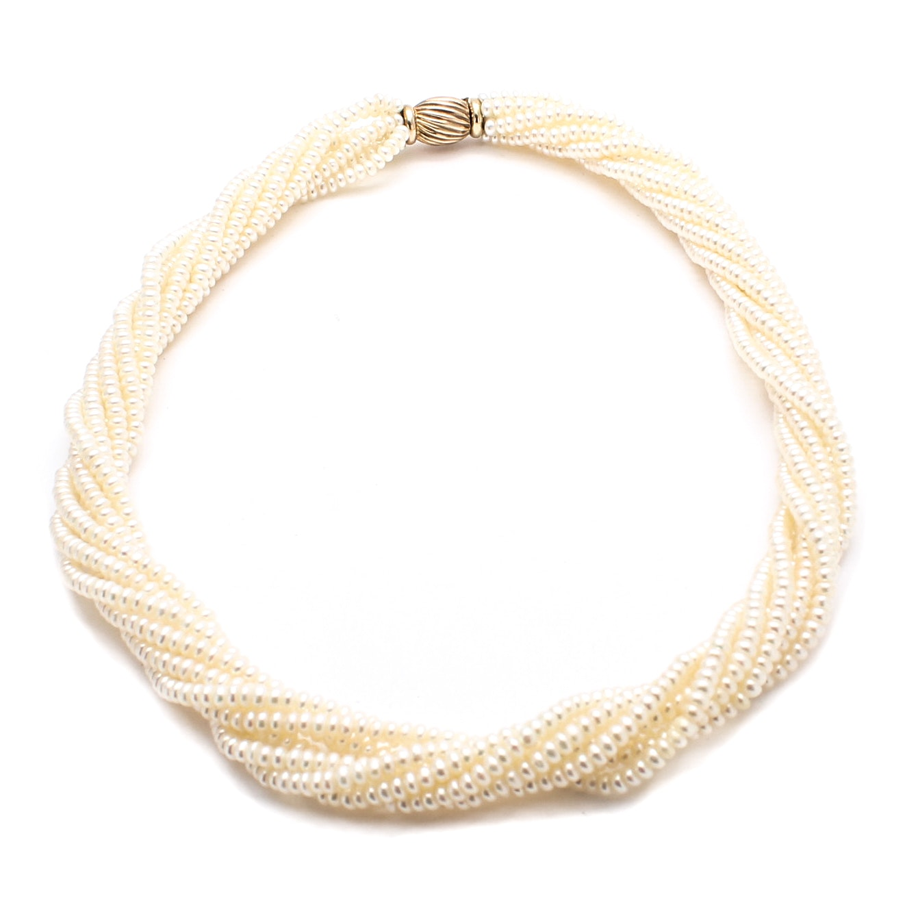 Cultured Freshwater Pearl Necklace with 9K Yellow Gold Clasp