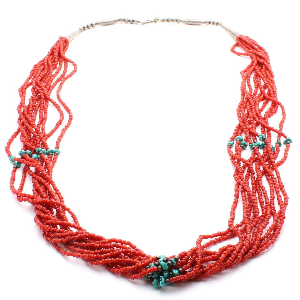 Sterling Silver Dyed Coral and Turquoise Necklace