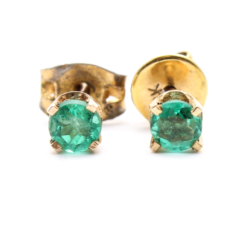 14K Yellow Gold and Emerald Earrings