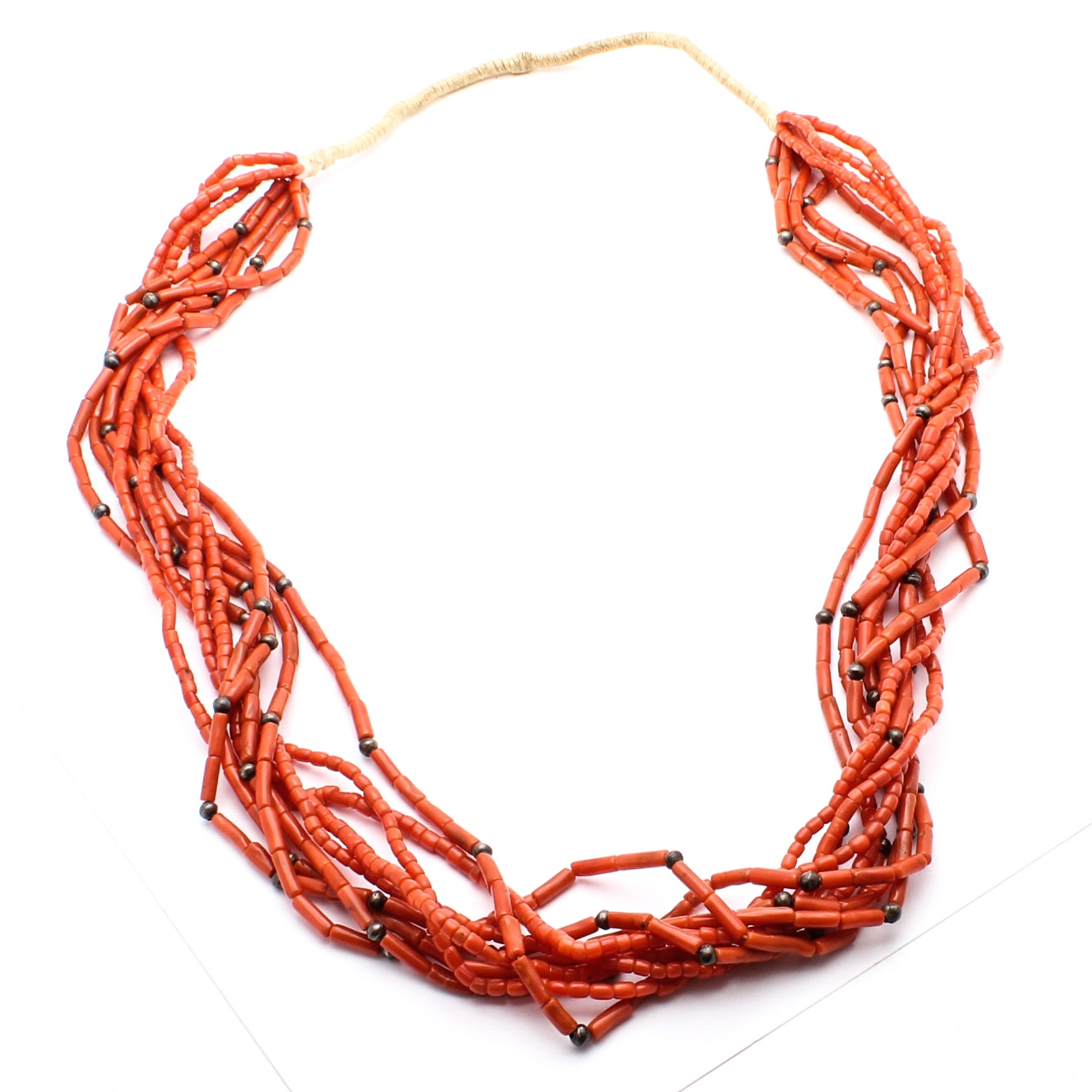 Sterling Silver and Dyed Coral Necklace